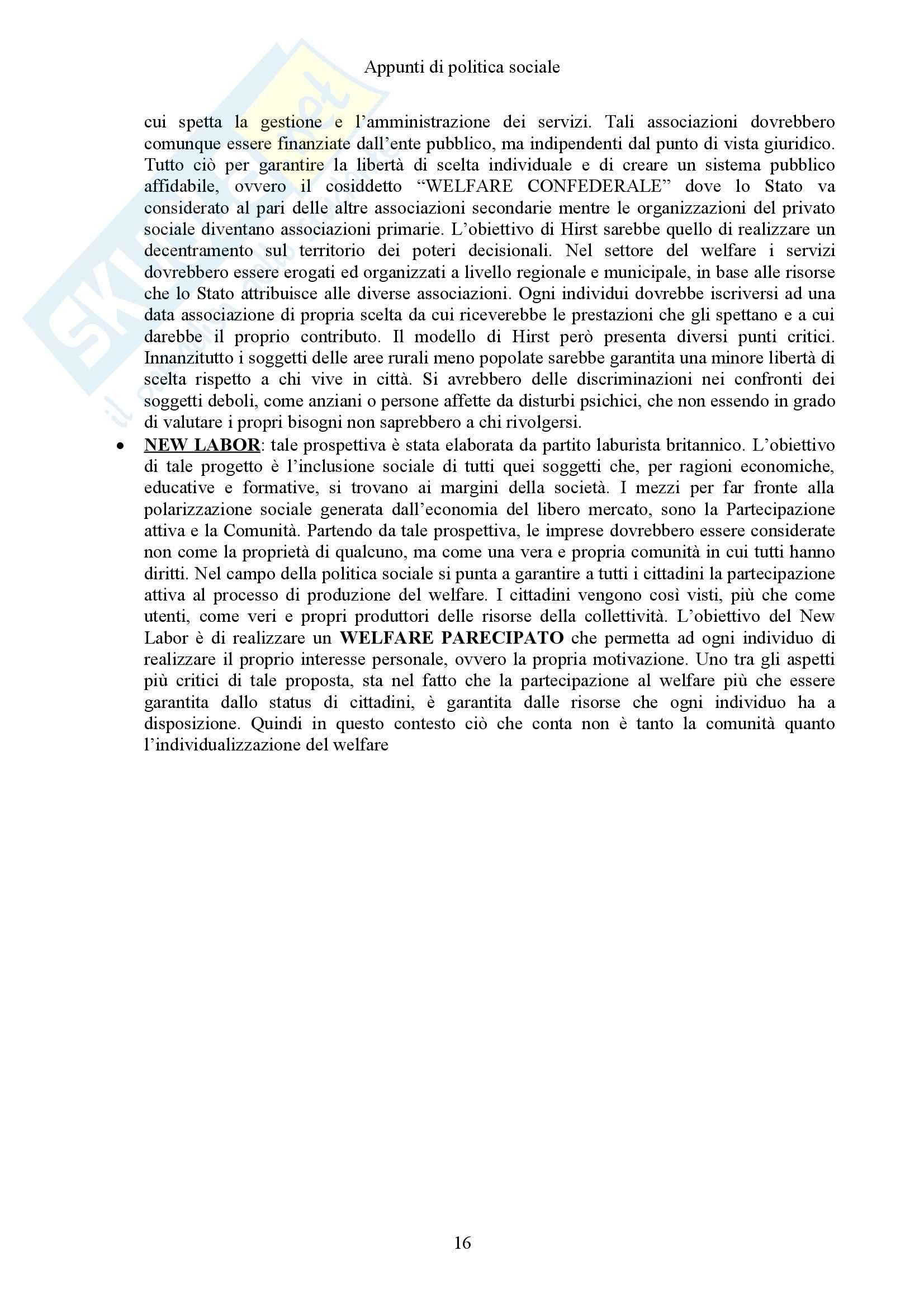 Politica sociale e Sistemi sociali comparati - Appunti Pag. 16