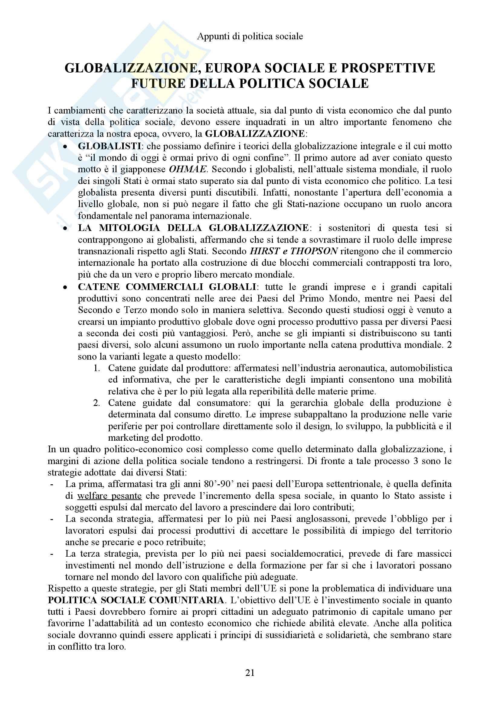 Politica sociale e Sistemi sociali comparati - Appunti Pag. 21
