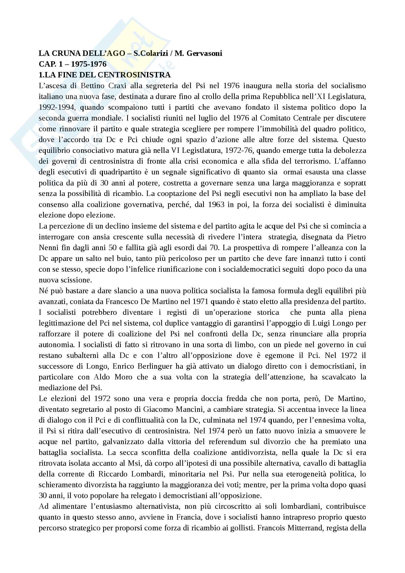 Riassunto esame Storia contemporanea, prof. Punzo, libro consigliato:  La Cruna dell'Ago Craxi il Partito Socialista e la Crisi della Repubblica di Colarizi e Gervasoni