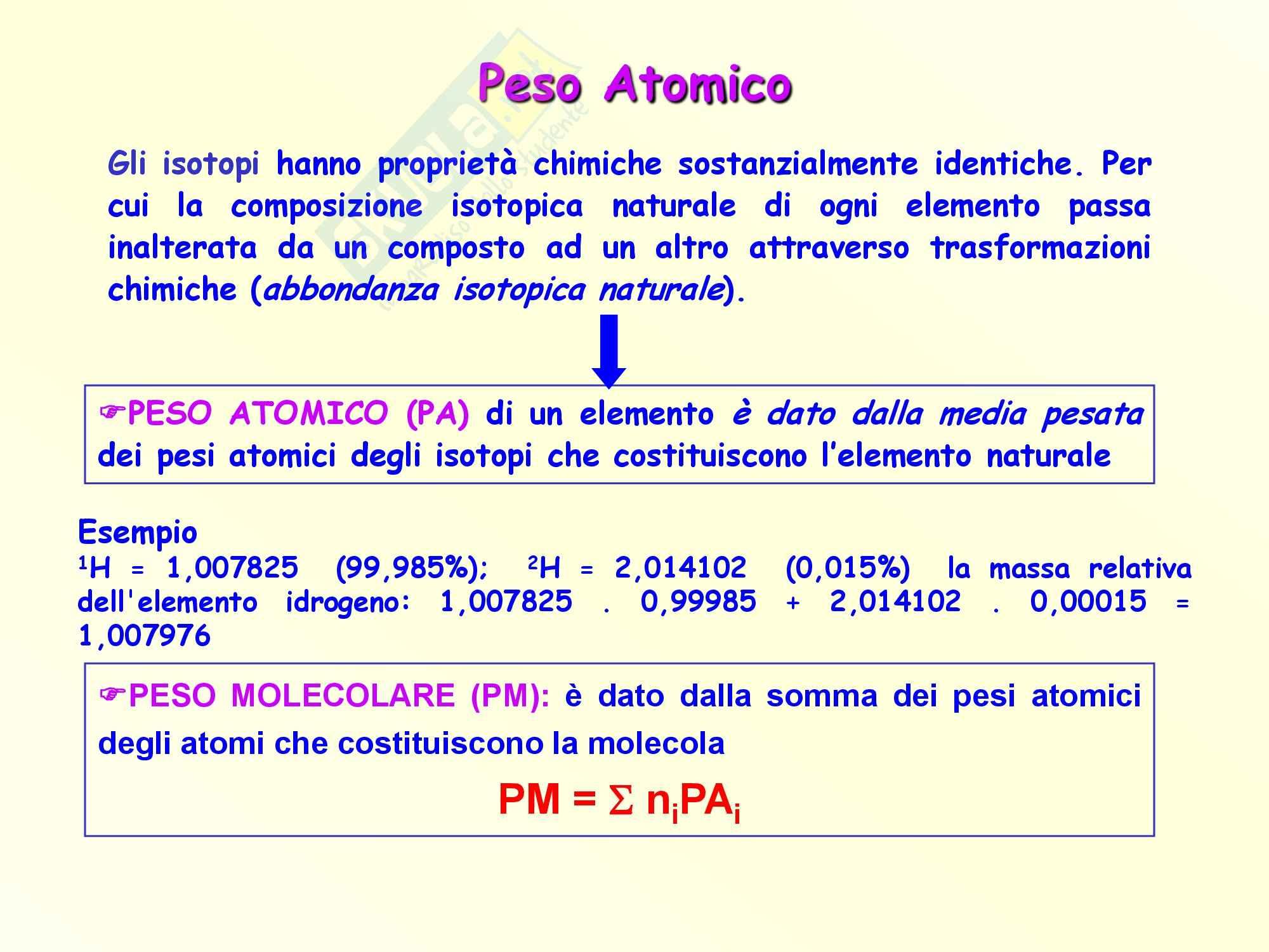 Chimica inorganica - il peso atomico