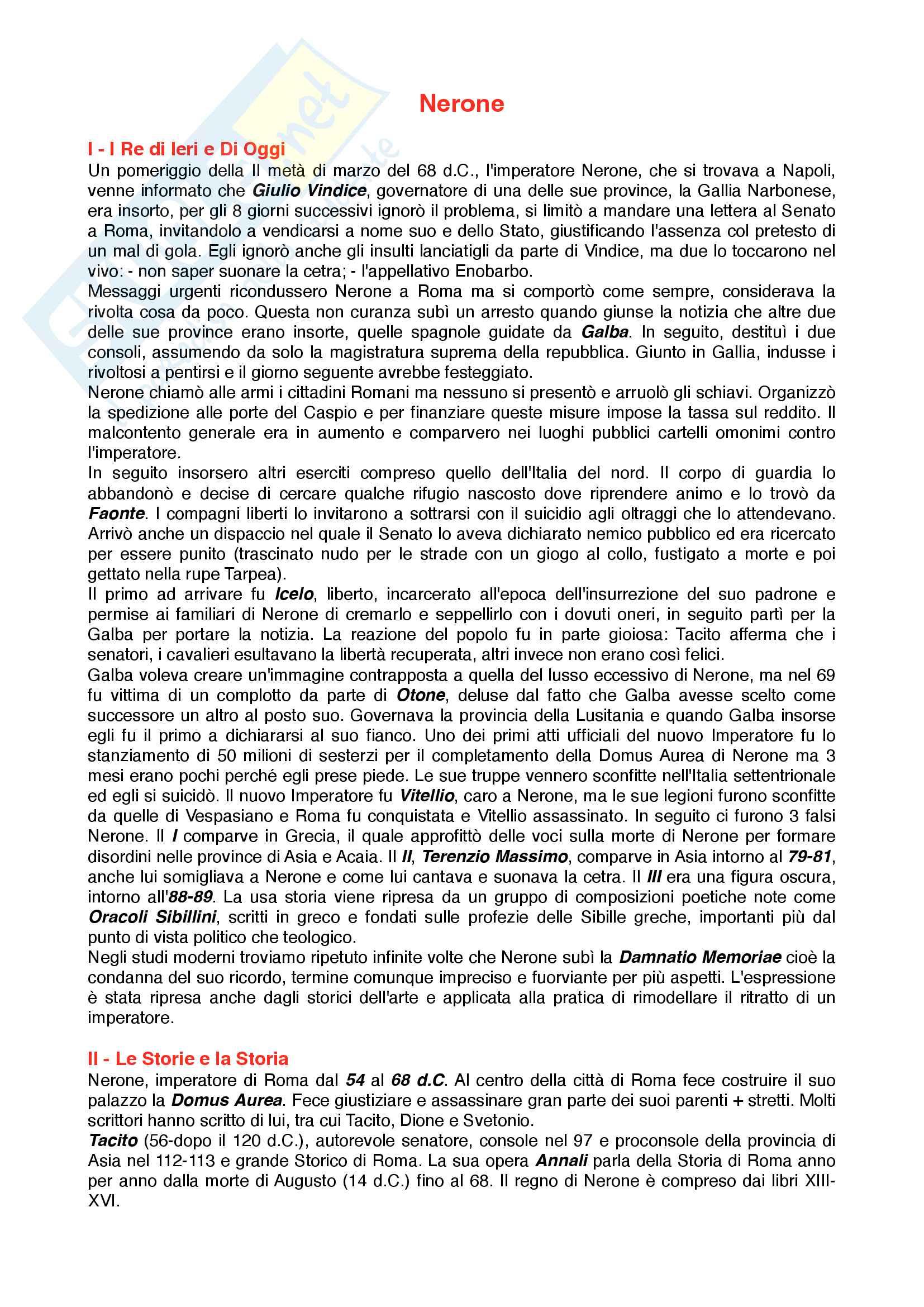 Riassunto esame Letteratura del mondo classico, Prof. Seita, libro consigliato Nerone, Champlin