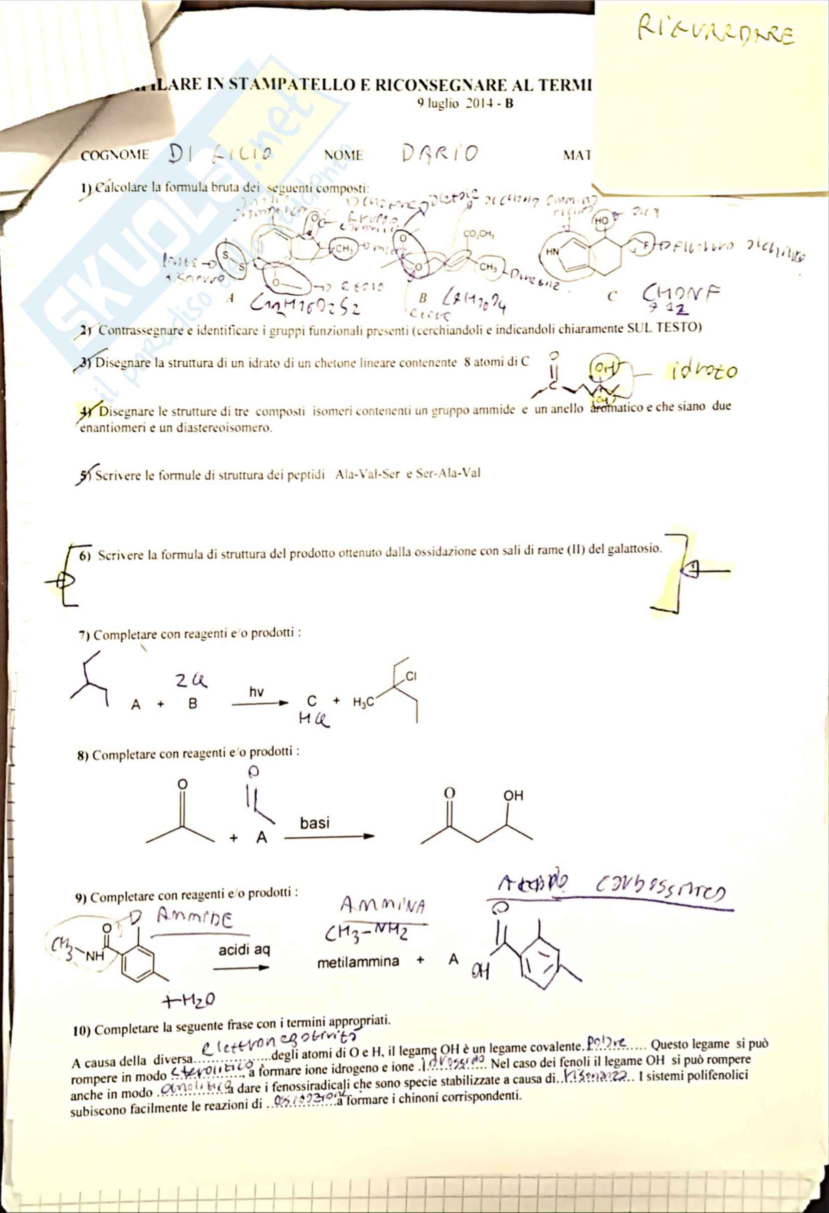 Chimica Organica - Esercizi & Simulazioni Fedeli delle prove d'esame Pag. 21