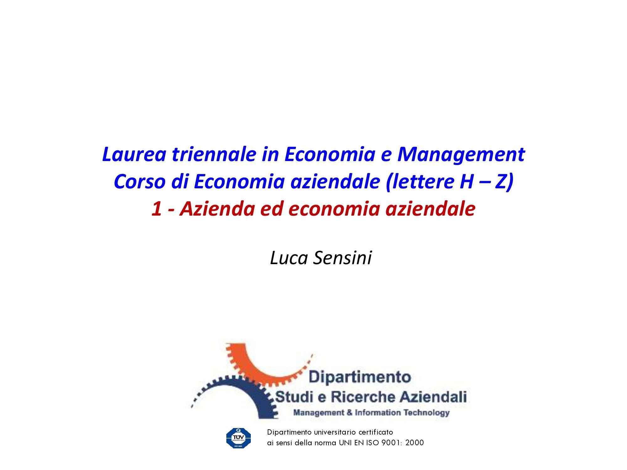 Dispensa di Economia aziendale - Azienda ed economia aziendale