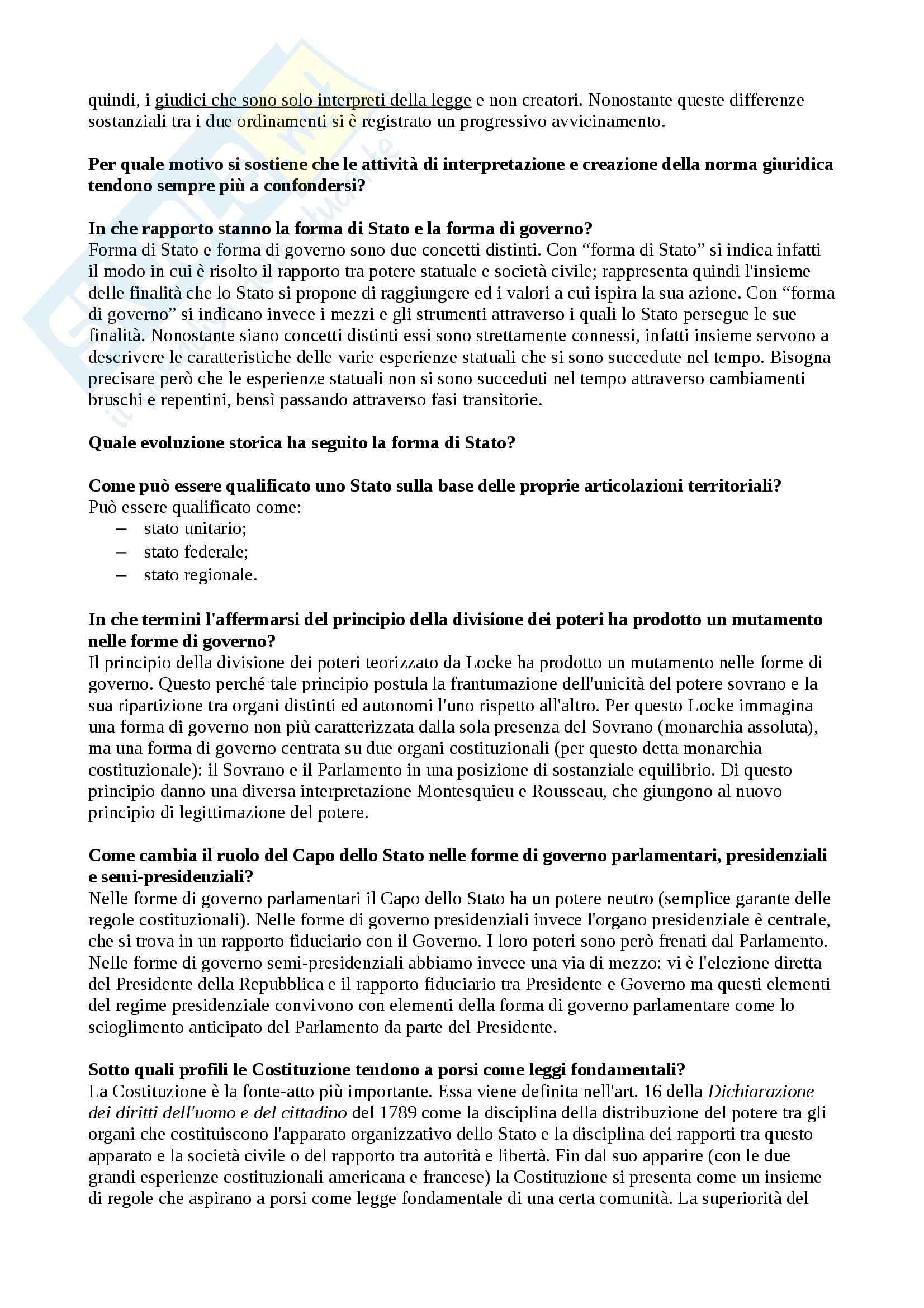 Diritto pubblico - Domande e risposte Pag. 2