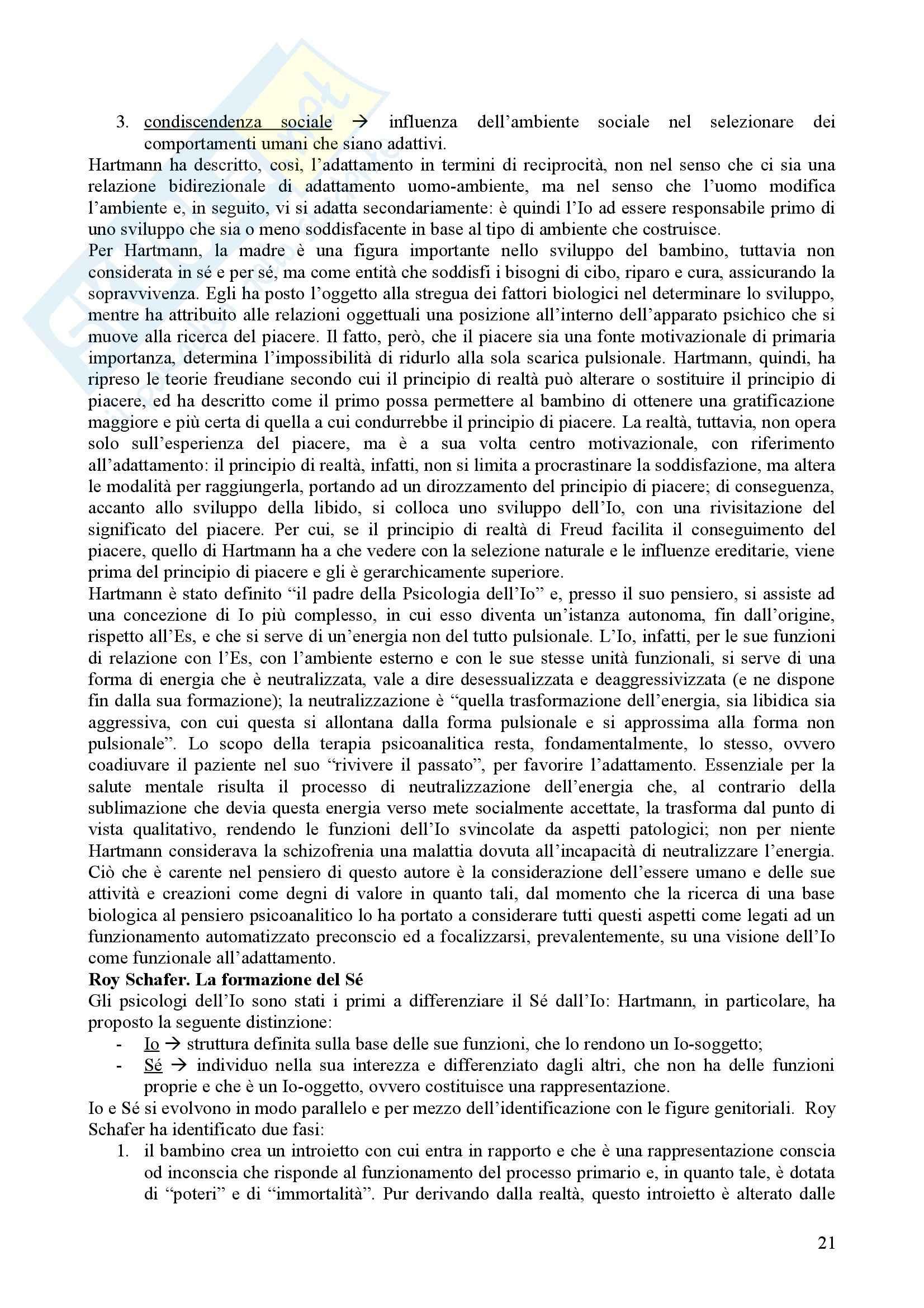 Riassunto esame Psicologia Dinamica, prof. Nespoli, libro consigliato Modelli Evolutivi in Psicologia Dinamica I, Quaglia, Longobardi Pag. 21