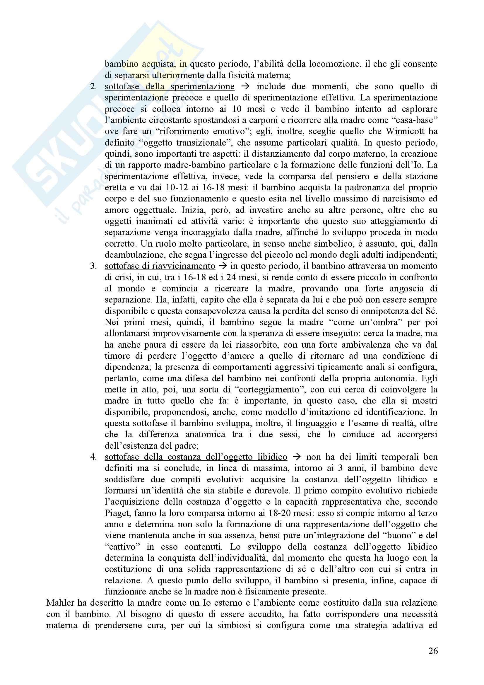 Riassunto esame Psicologia Dinamica, prof. Nespoli, libro consigliato Modelli Evolutivi in Psicologia Dinamica I, Quaglia, Longobardi Pag. 26