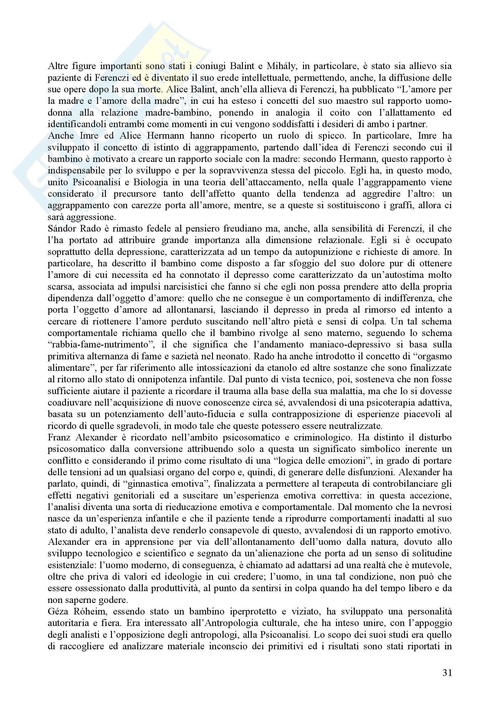 Riassunto esame Psicologia Dinamica, prof. Nespoli, libro consigliato Modelli Evolutivi in Psicologia Dinamica I, Quaglia, Longobardi Pag. 31