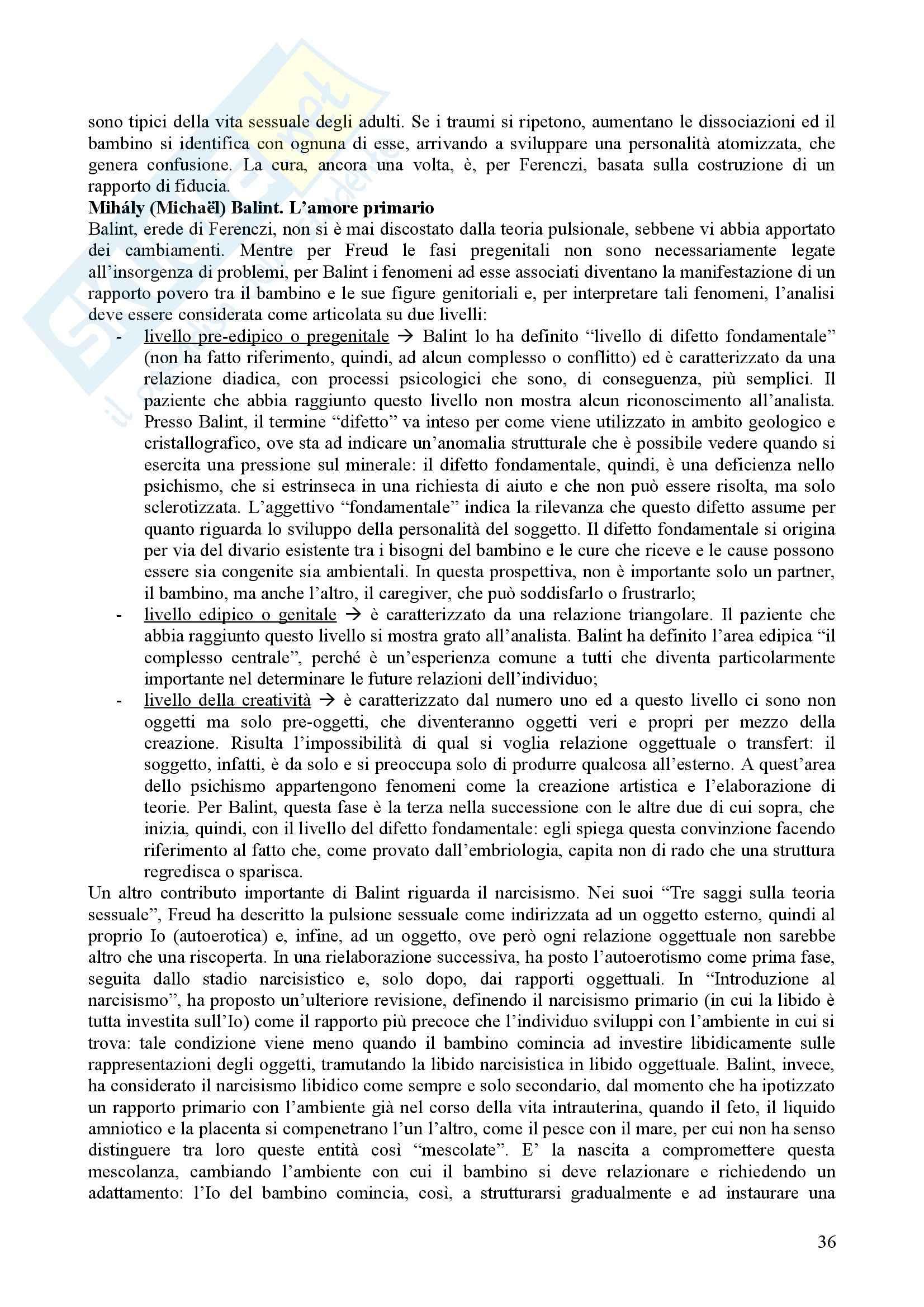 Riassunto esame Psicologia Dinamica, prof. Nespoli, libro consigliato Modelli Evolutivi in Psicologia Dinamica I, Quaglia, Longobardi Pag. 36