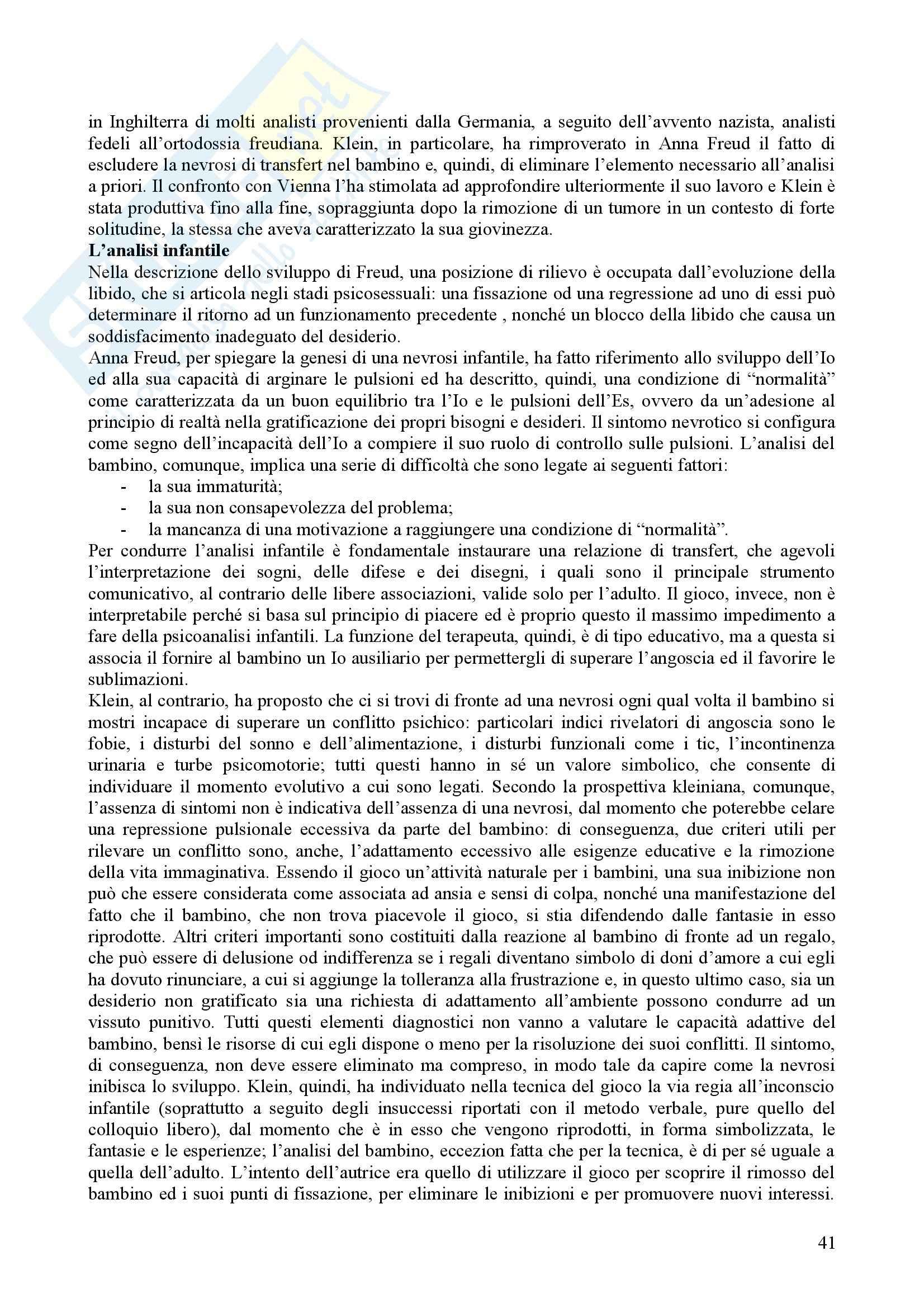 Riassunto esame Psicologia Dinamica, prof. Nespoli, libro consigliato Modelli Evolutivi in Psicologia Dinamica I, Quaglia, Longobardi Pag. 41