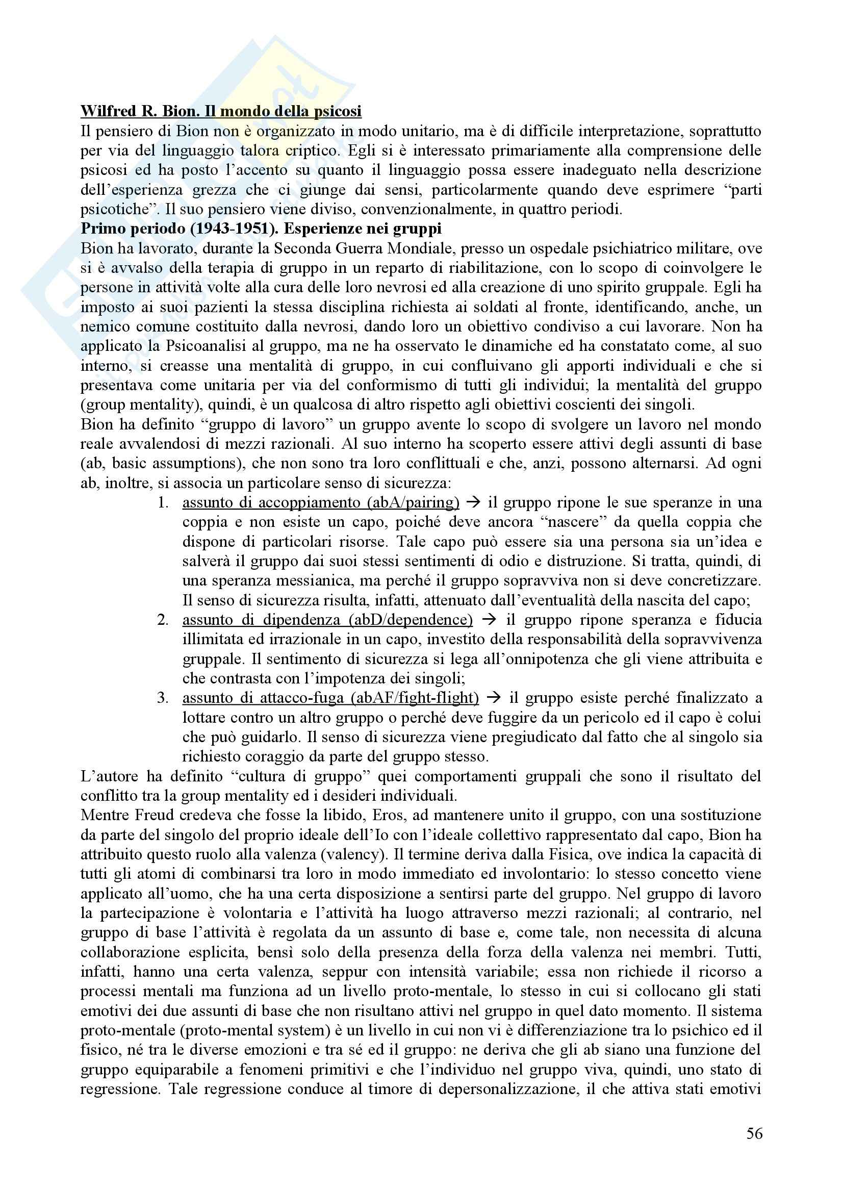 Riassunto esame Psicologia Dinamica, prof. Nespoli, libro consigliato Modelli Evolutivi in Psicologia Dinamica I, Quaglia, Longobardi Pag. 56