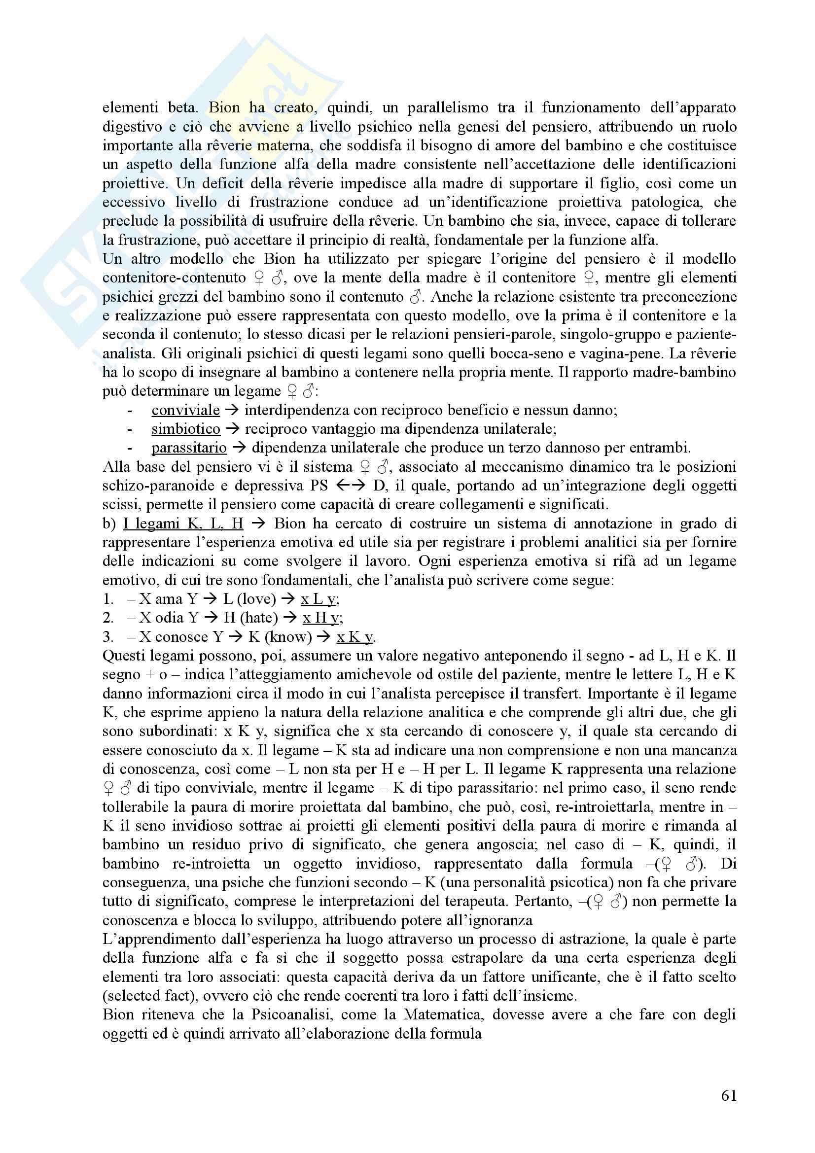 Riassunto esame Psicologia Dinamica, prof. Nespoli, libro consigliato Modelli Evolutivi in Psicologia Dinamica I, Quaglia, Longobardi Pag. 61