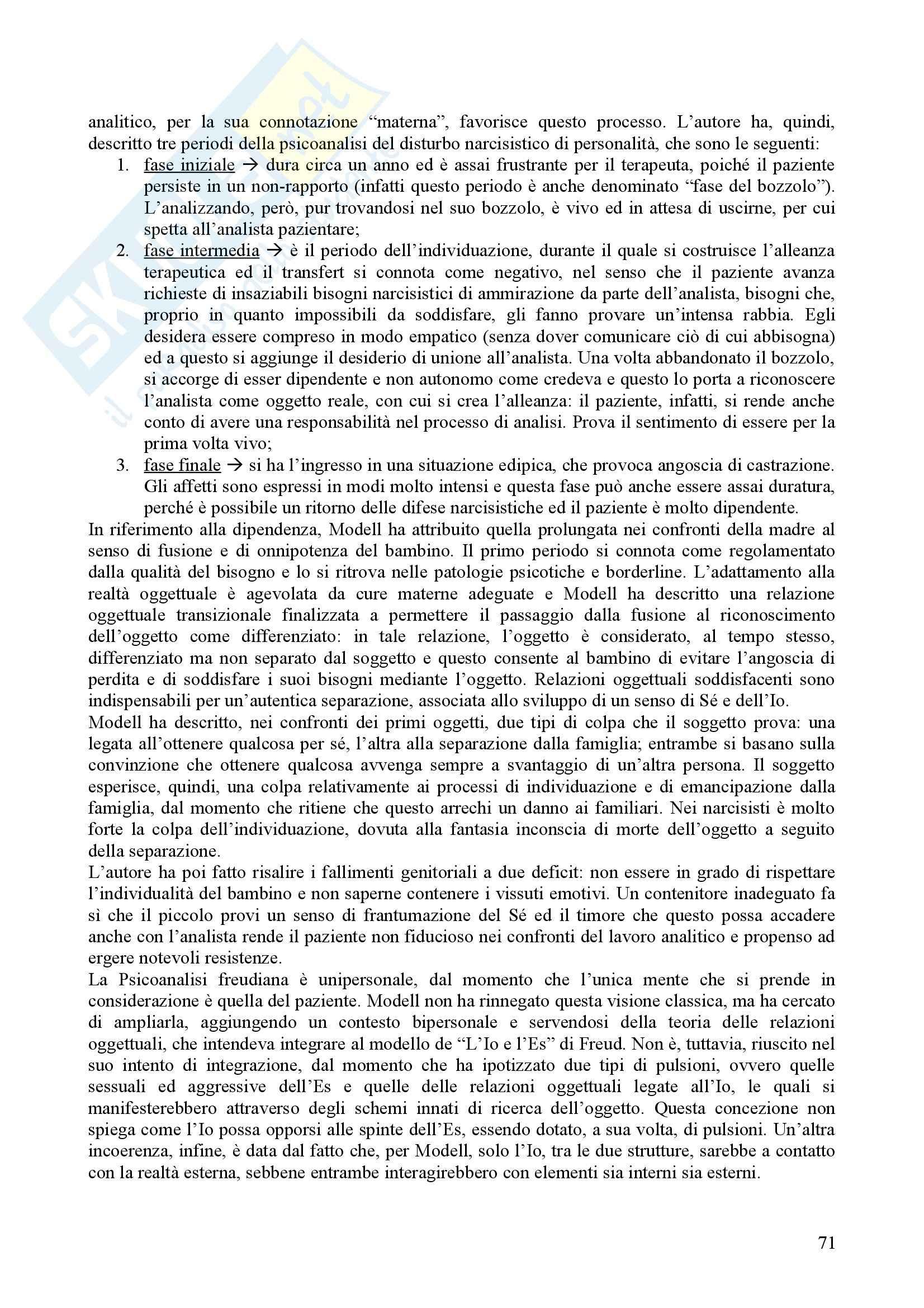 Riassunto esame Psicologia Dinamica, prof. Nespoli, libro consigliato Modelli Evolutivi in Psicologia Dinamica I, Quaglia, Longobardi Pag. 71