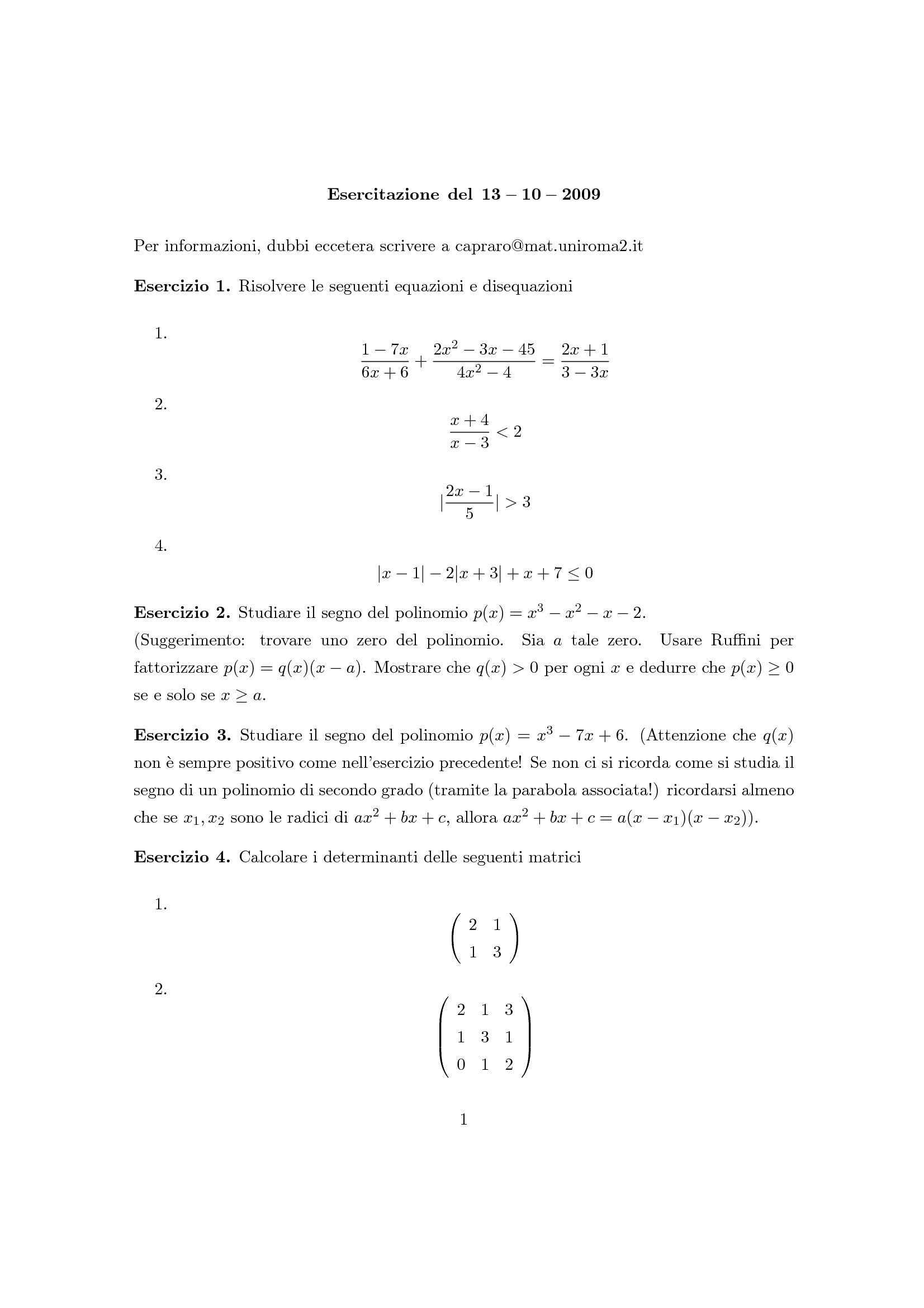 Matematica Generale - Matrici, Ruffini, sistema lineare parametrico