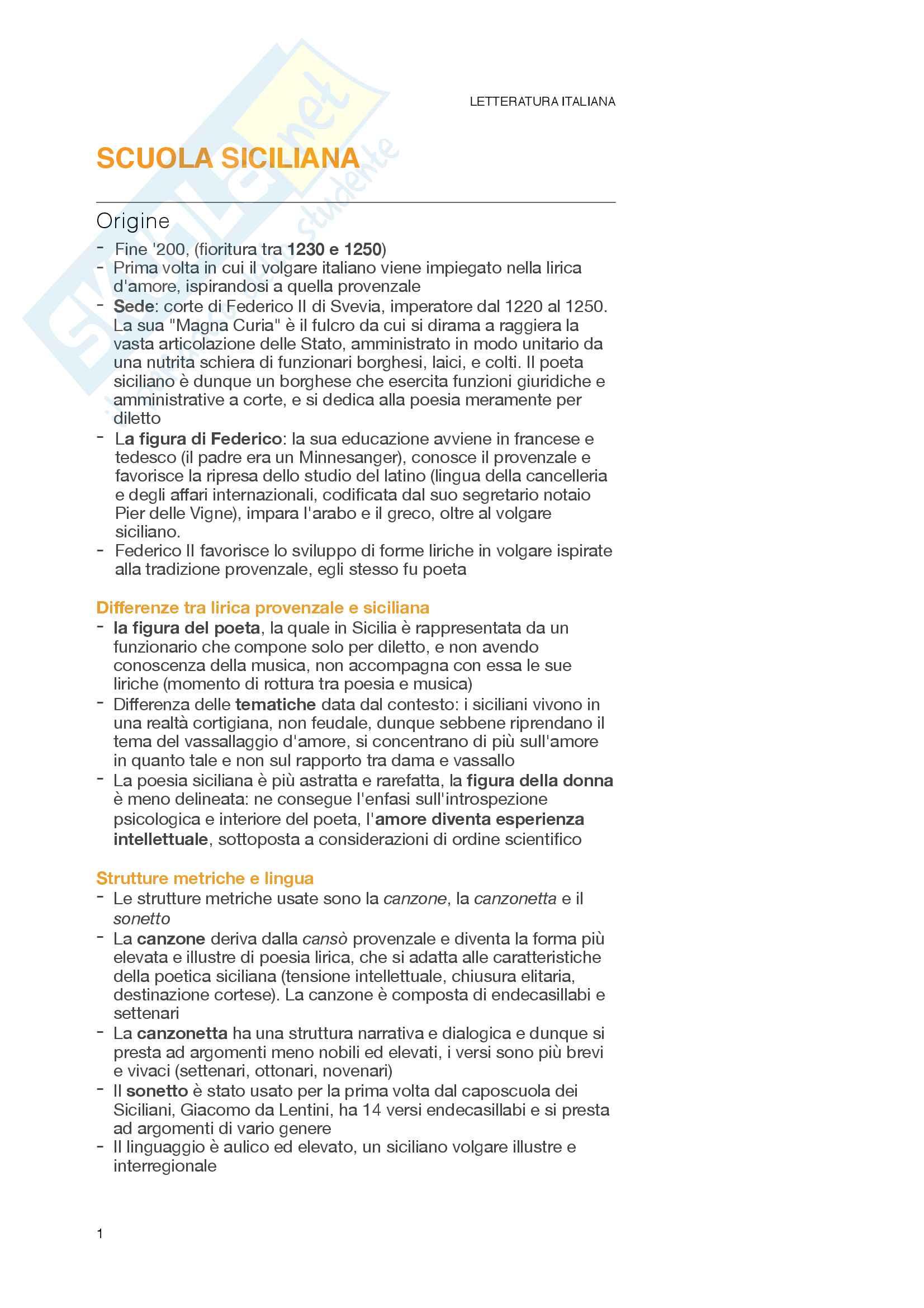 Riassunto esame Letteratura Italiana, prof. Pellizzari, libro consigliato La scrittura e l'interpretazione 1