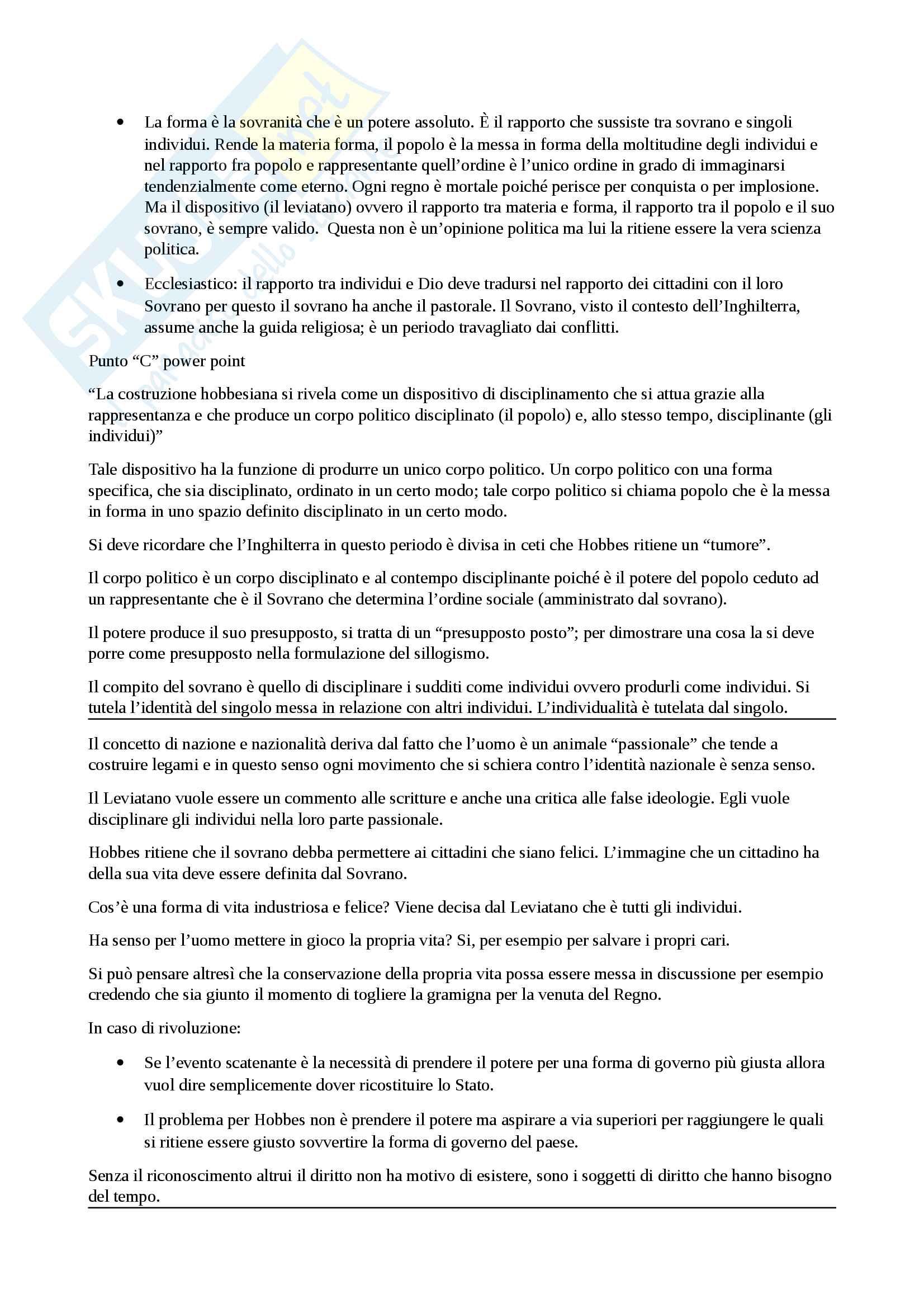 Filosofia delle scienze sociali: argomento, Hobbes Pag. 6