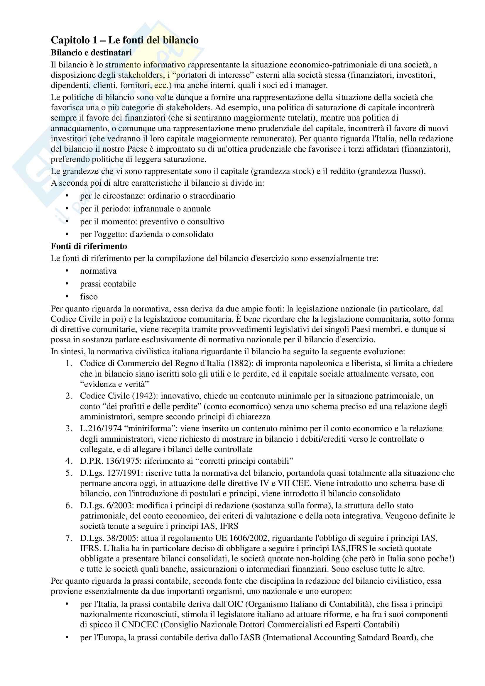 Riassunto esame Contabilità, prof. Manetti, libro consigliato Il bilancio d'esercizio, teoria e casi, Antonelli, Liberatore