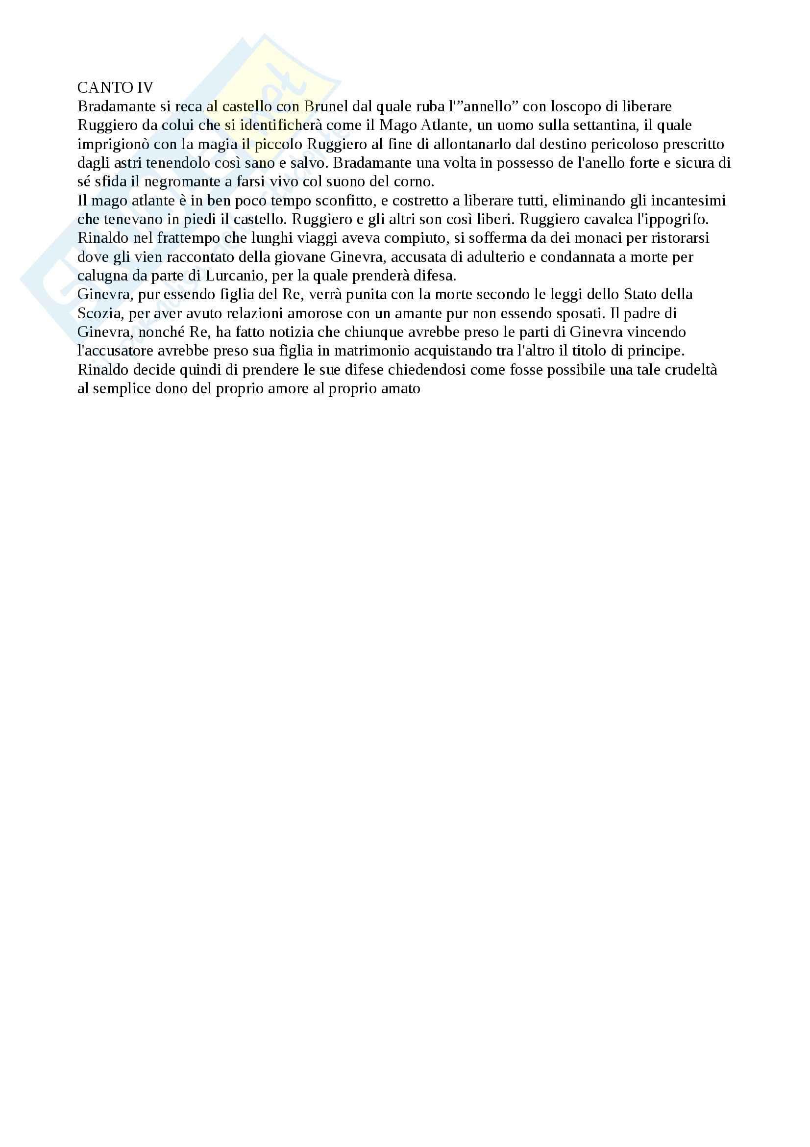 Orlando furioso, Ariosto - Riassunto Canto IV, prof. Sarnelli