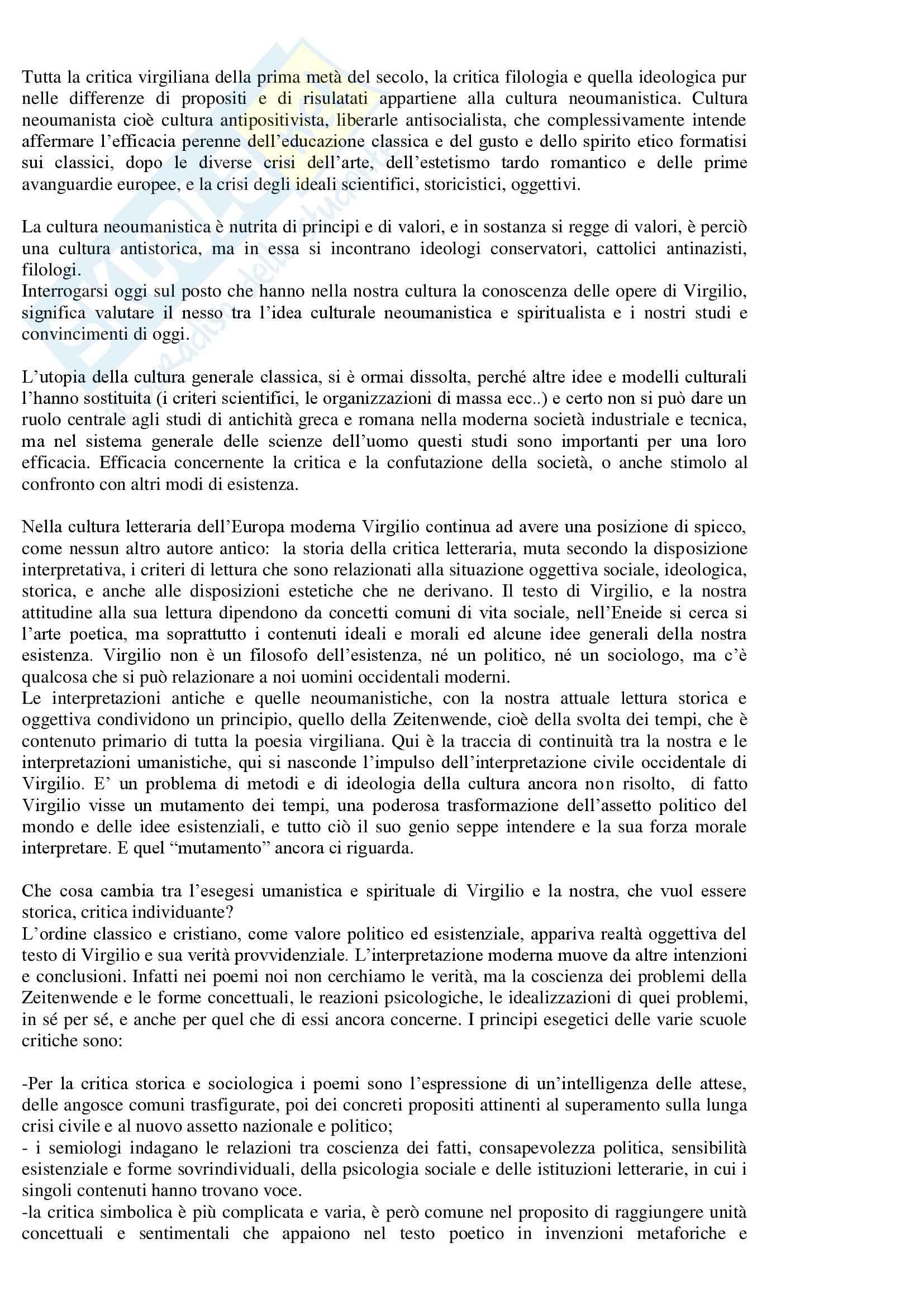 Lingua  e letteratura latina - critica di Virgilio Pag. 6