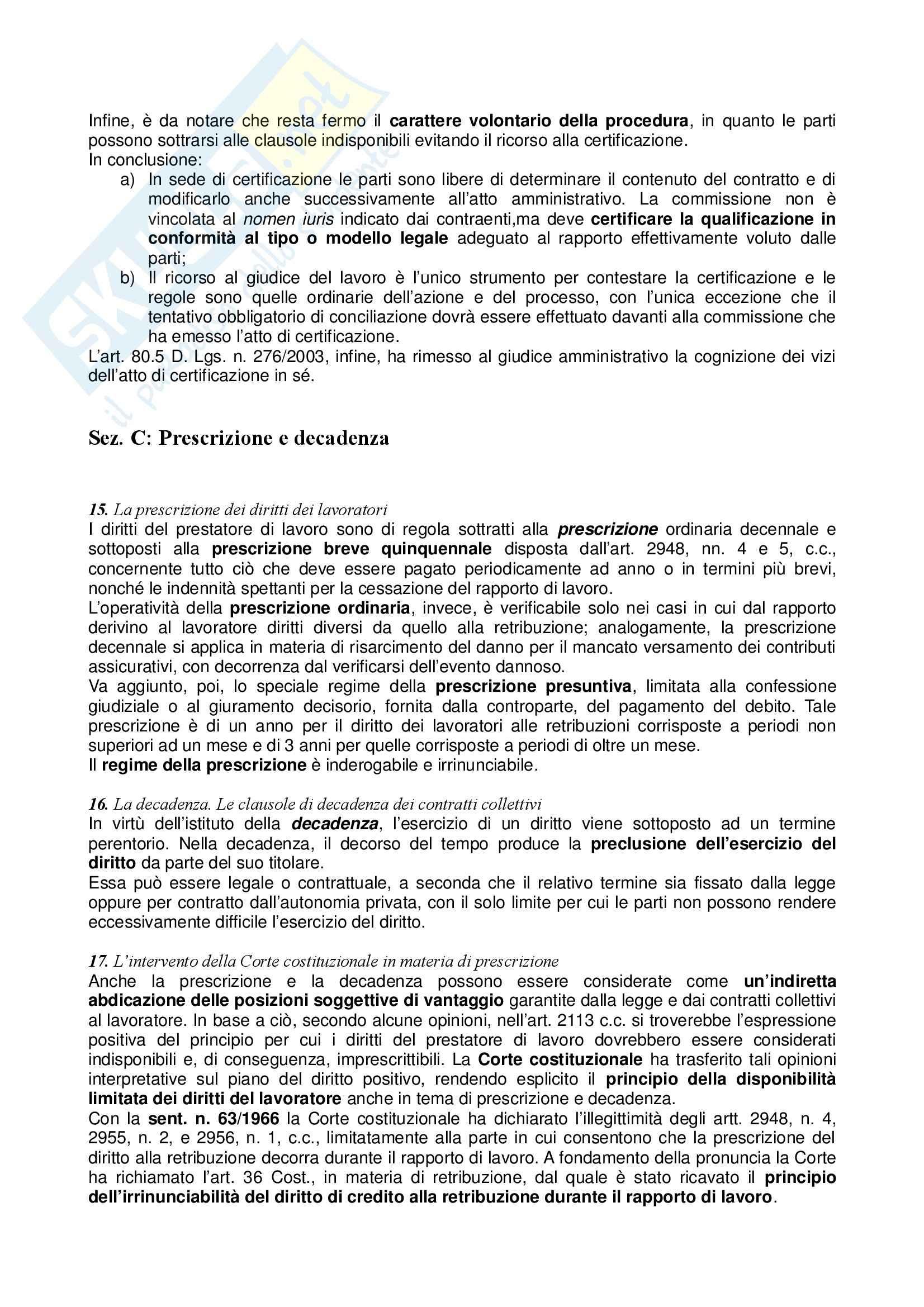 Riassunto esame Diritto del Lavoro, prof. Zoli, libro consigliato Diritto del Lavoro, Ghera Pag. 41