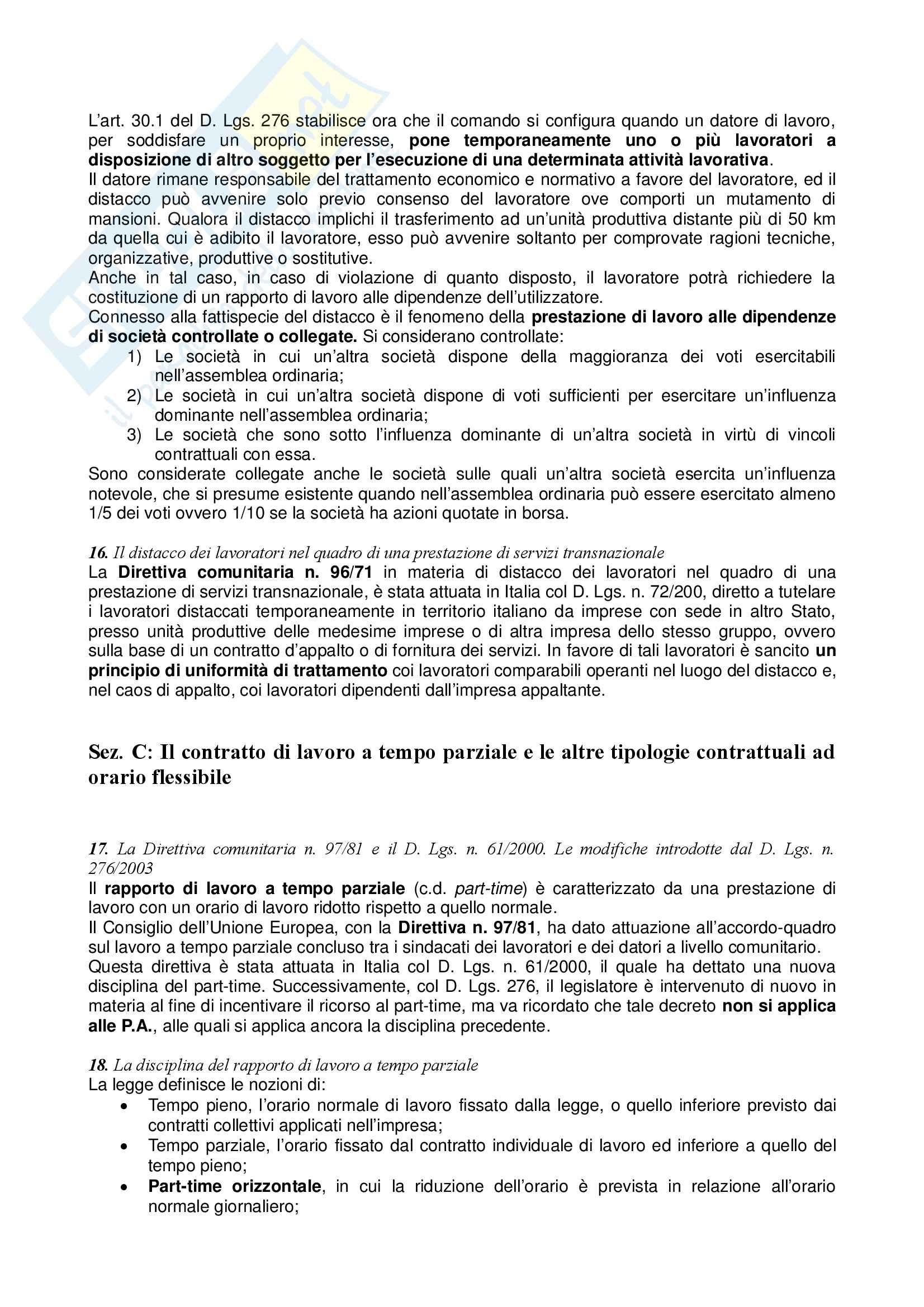 Riassunto esame Diritto del Lavoro, prof. Zoli, libro consigliato Diritto del Lavoro, Ghera Pag. 61