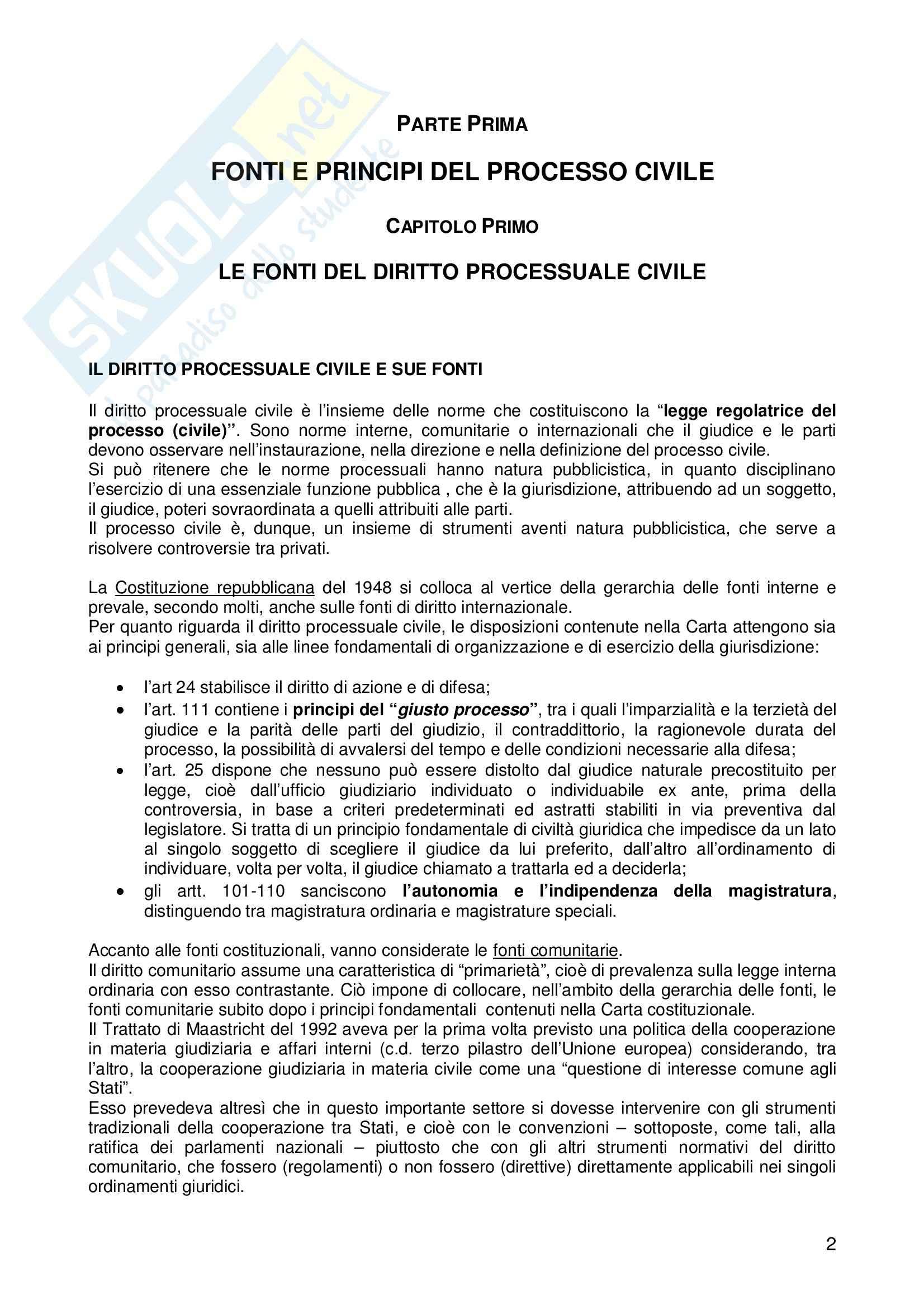 Riassunto esame Diritto processuale civile, prof. Arieta, libro consigliato Corso base di Diritto processuale civile, De Sanctis