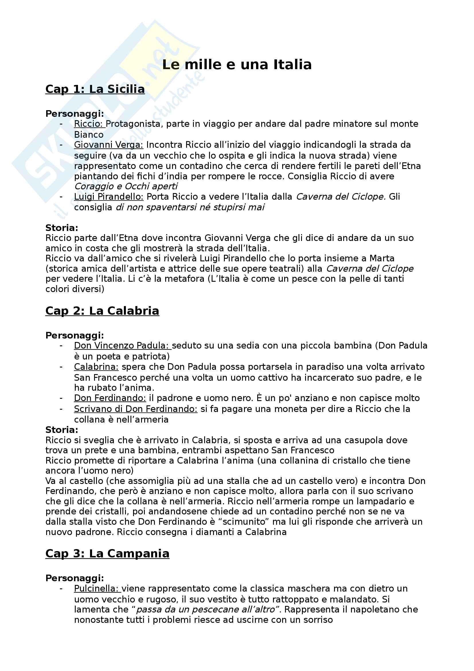 Riassunto esame Letteratura italiana, prof. Masoero, libro consigliato: Le mille e una Italia, Arpino