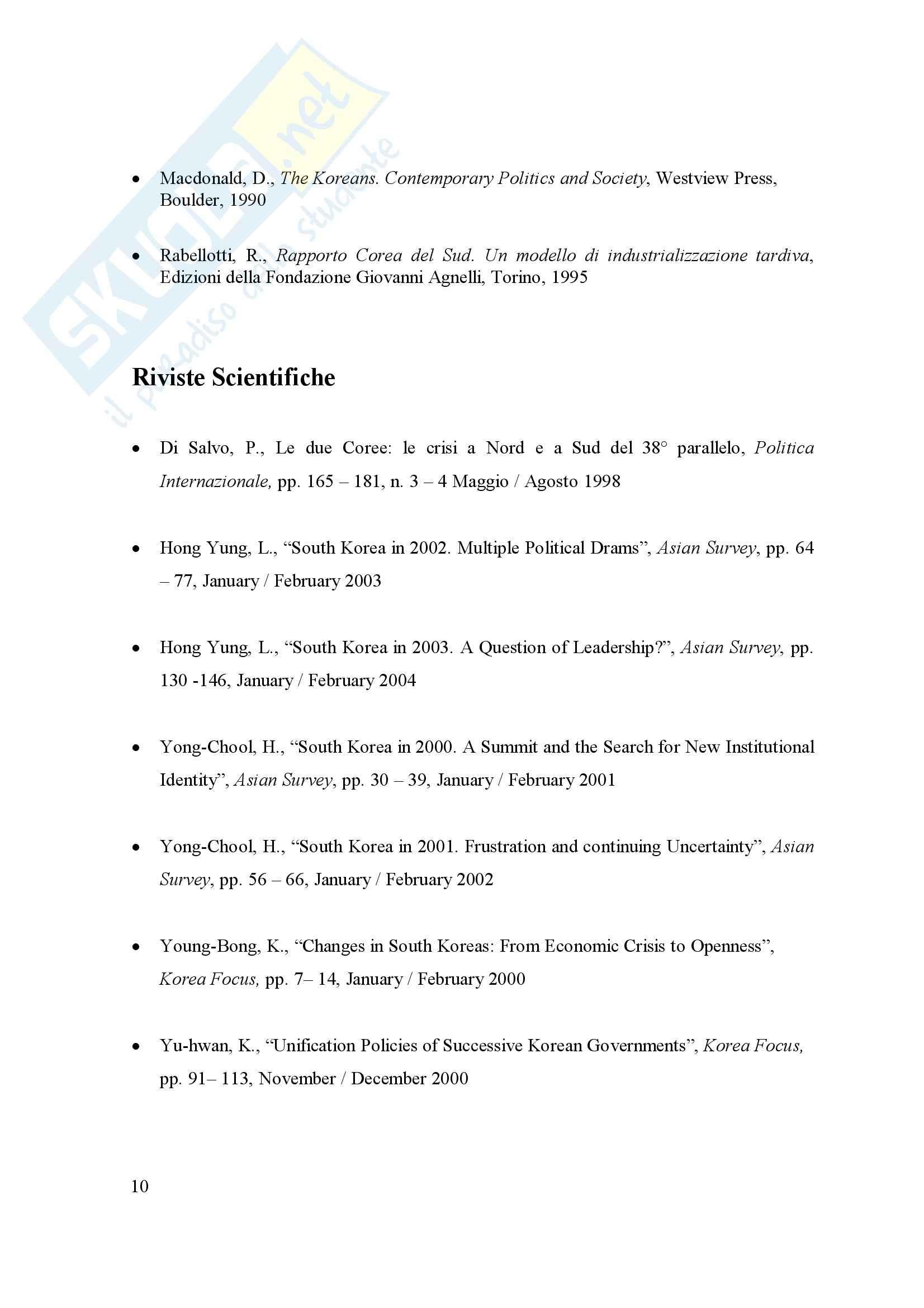 Relazioni internazionali - Corea del Sud Pag. 11