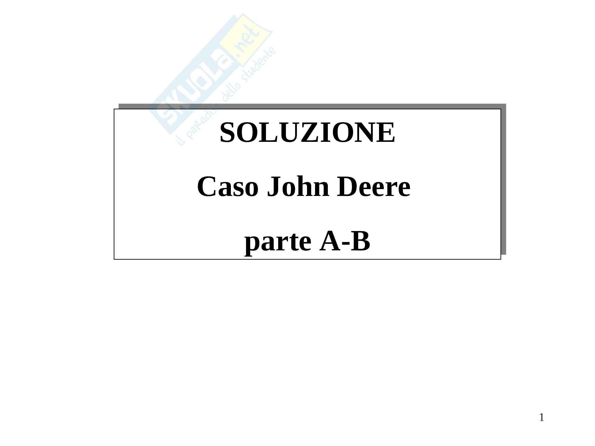Programmazione e controllo II - Soluzione John Deere