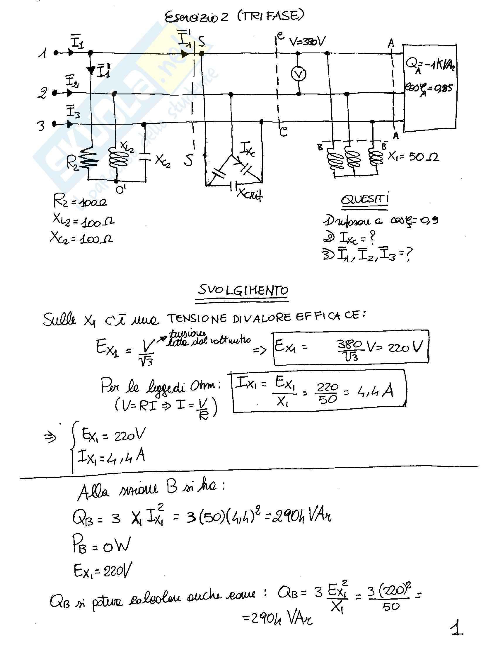 Sistemi trifase - Esercizi svolti