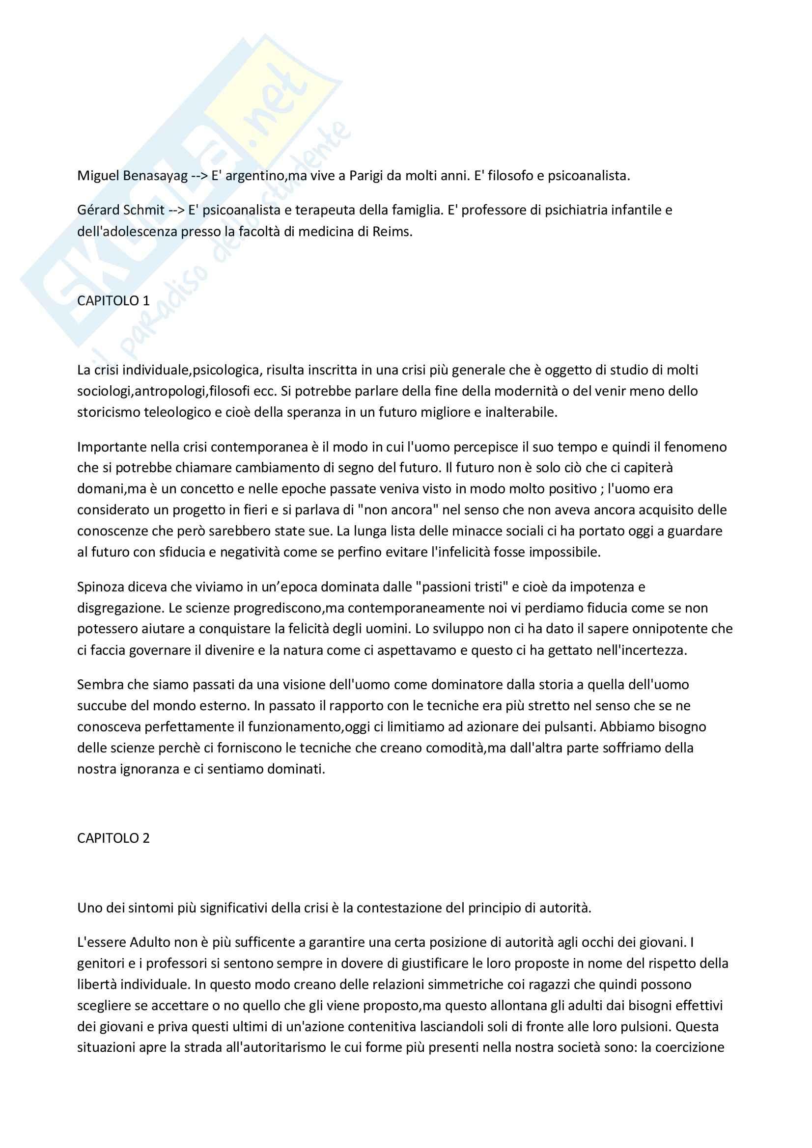 Riassunto esame Sociologia, prof. Tognetti, libro consigliato Epoca delle passioni tristi, Benasayag, Schmit