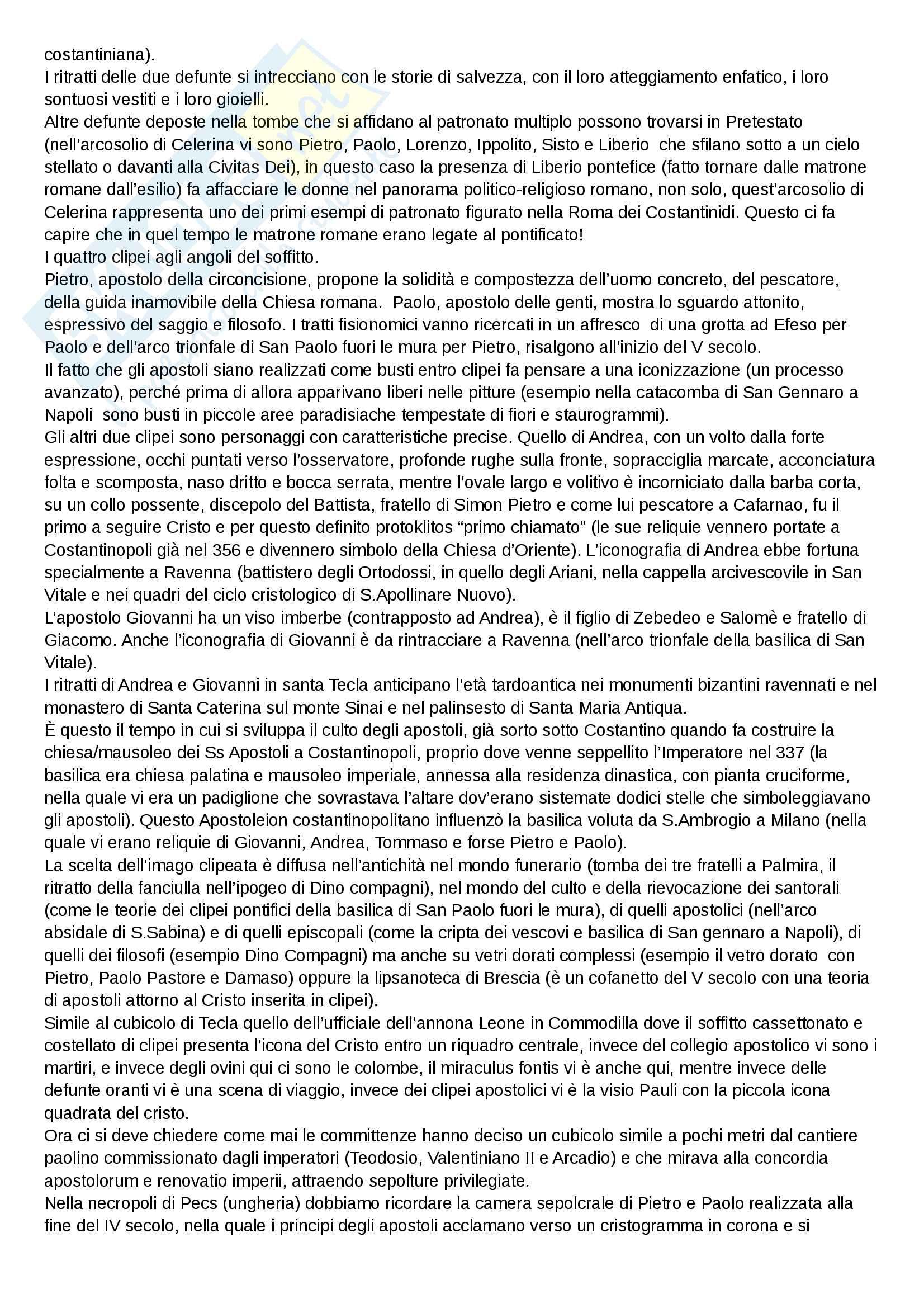 Riassunto esame Iconografia cristiana e medievale, prof Bisconti. Libro consigliato Il Cubicolo degli apostoli nelle catacombe romane di santa tecla, Mazzei Pag. 11