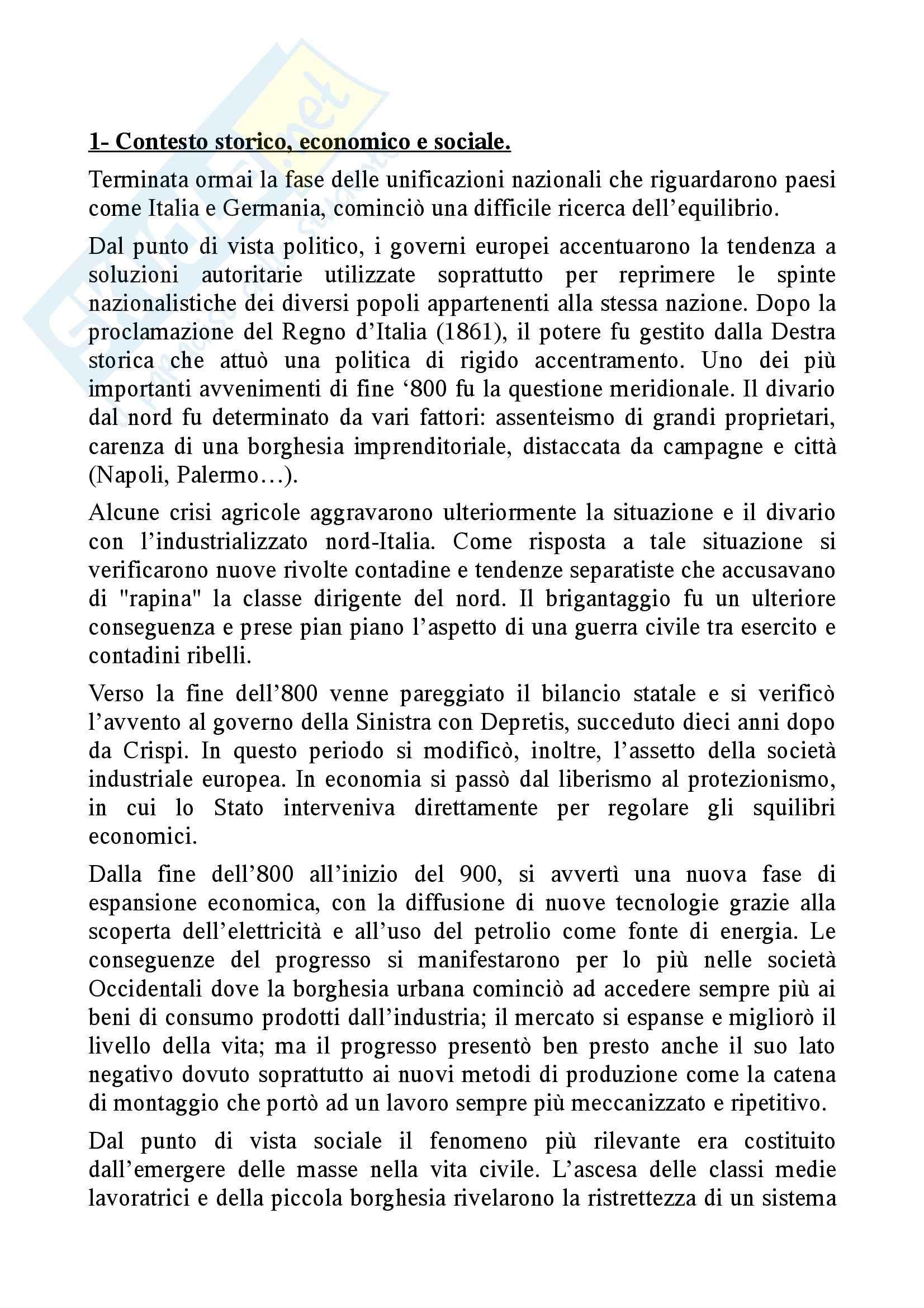 Letteratura Italiana - Verga appunti