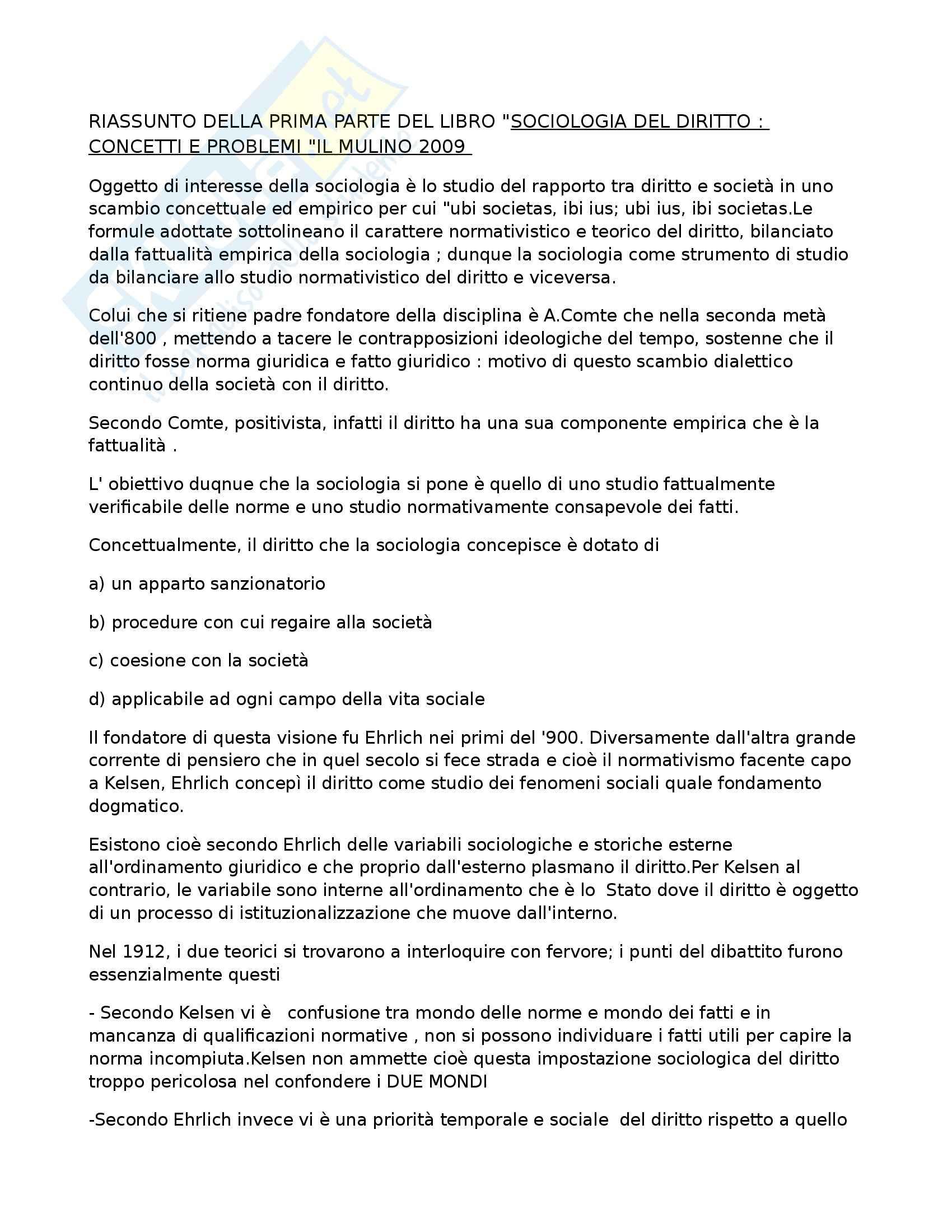 Riassunto esame Sociologia del diritto, prof. Febbrajo, libro consigliato Sociologia del diritto, Concetti e problemi, Febbrajo
