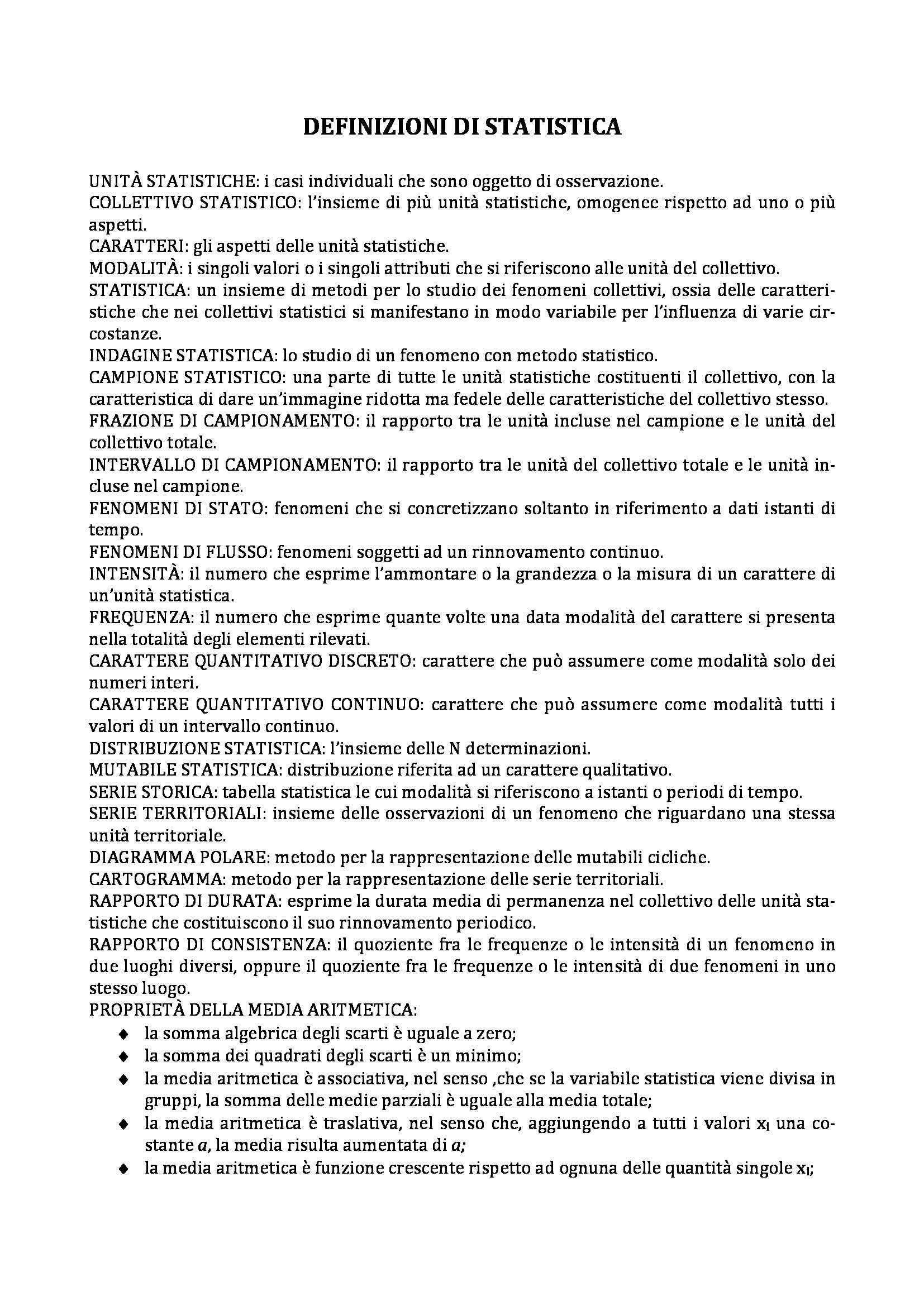 Lezioni di statistica, Girone, Salvemini - Definizioni