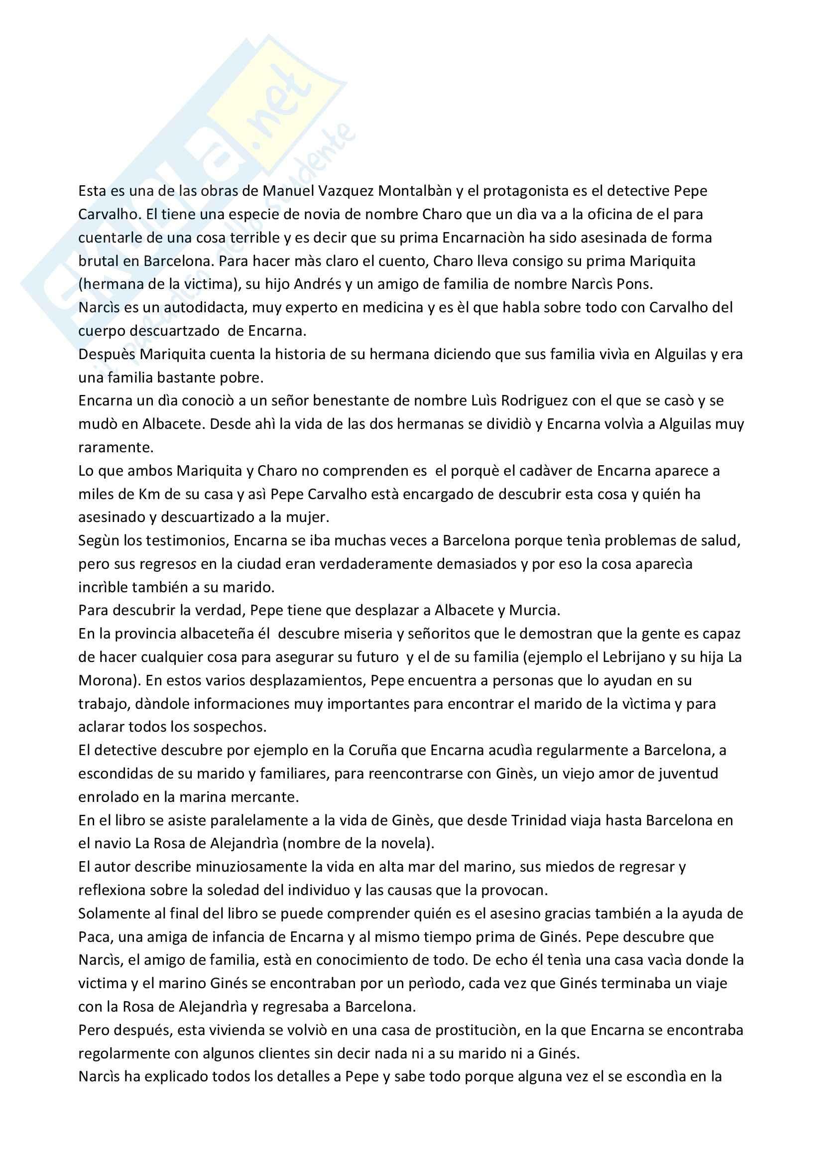 Riassunto esame Lingua Spagnola, prof. Gomez, libro consigliato La Rosa de Alejandrìa, Montalbàn