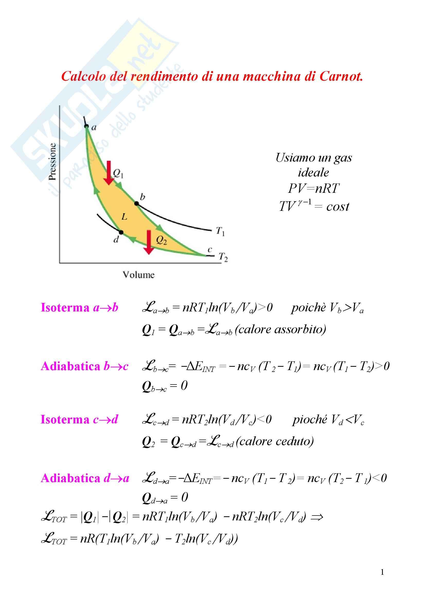 Fisica statistica ed informatica – Carnot