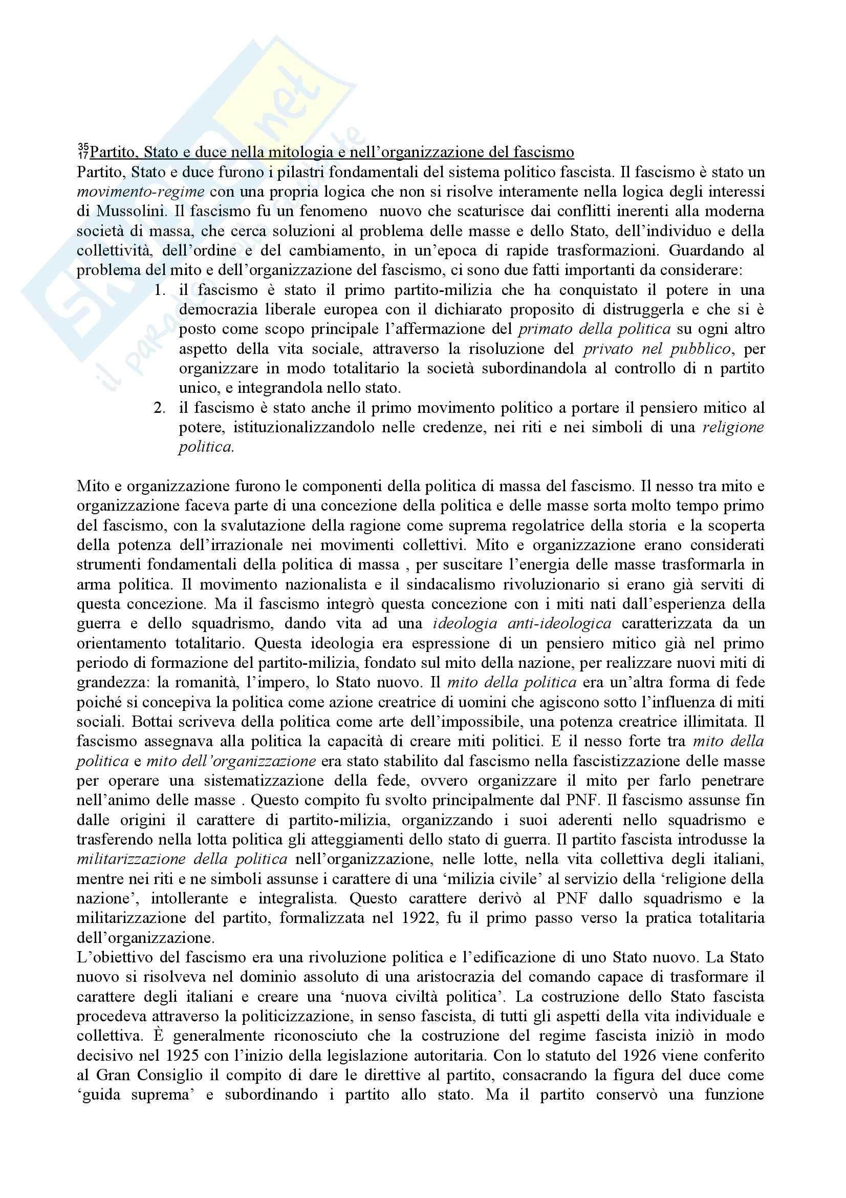 Riassunto esame Storia contemporanea, prof. Gentile, libro consigliato La via italiana al totalitarismo