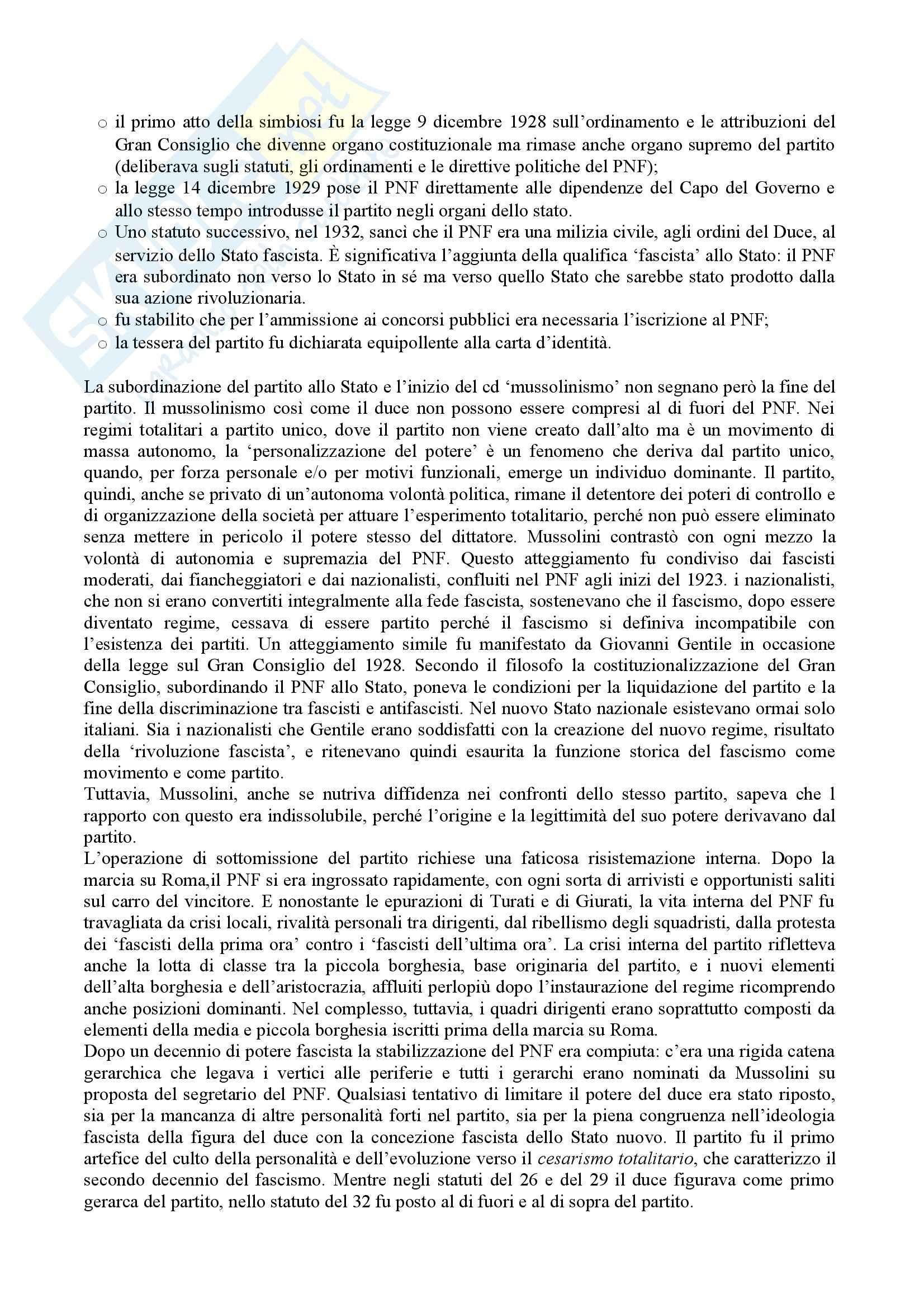 Riassunto esame Storia contemporanea, prof. Gentile, libro consigliato La via italiana al totalitarismo Pag. 6