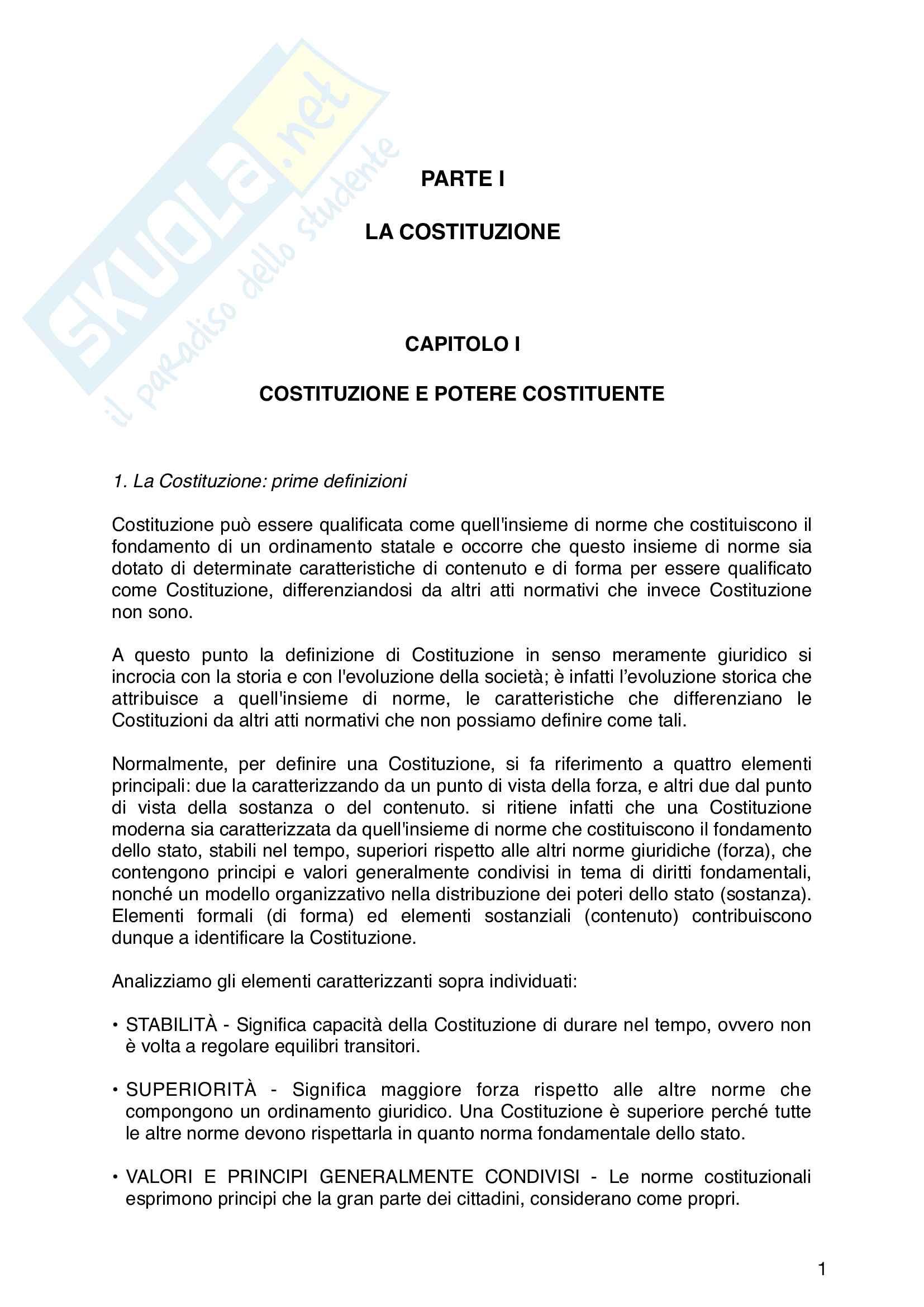 Riassunto esame di Diritto Costituzionale, libro di riferimento : Diritto costituzionale, Pisaneschi