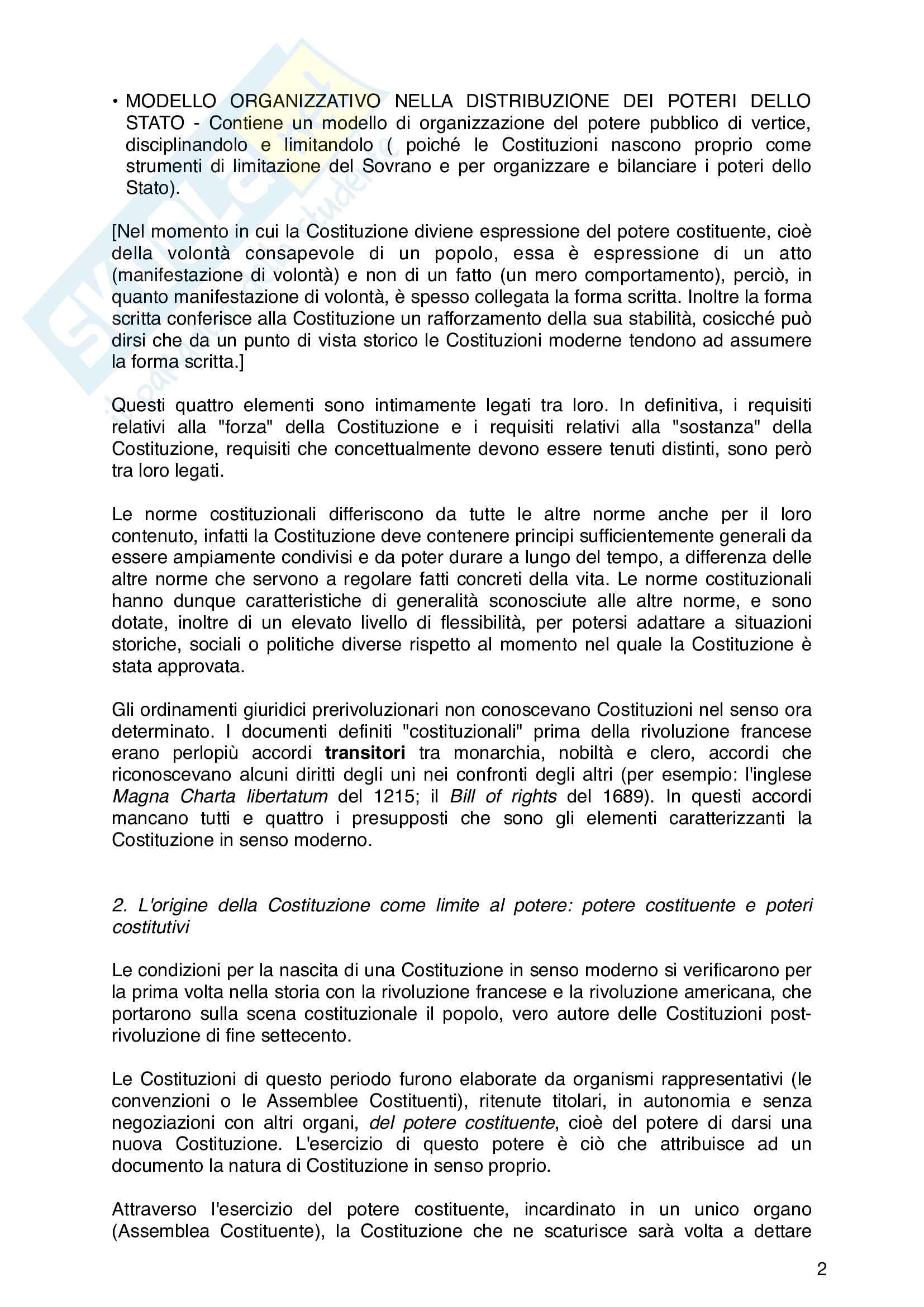 Riassunto esame di Diritto Costituzionale, libro di riferimento : Diritto costituzionale, Pisaneschi Pag. 2