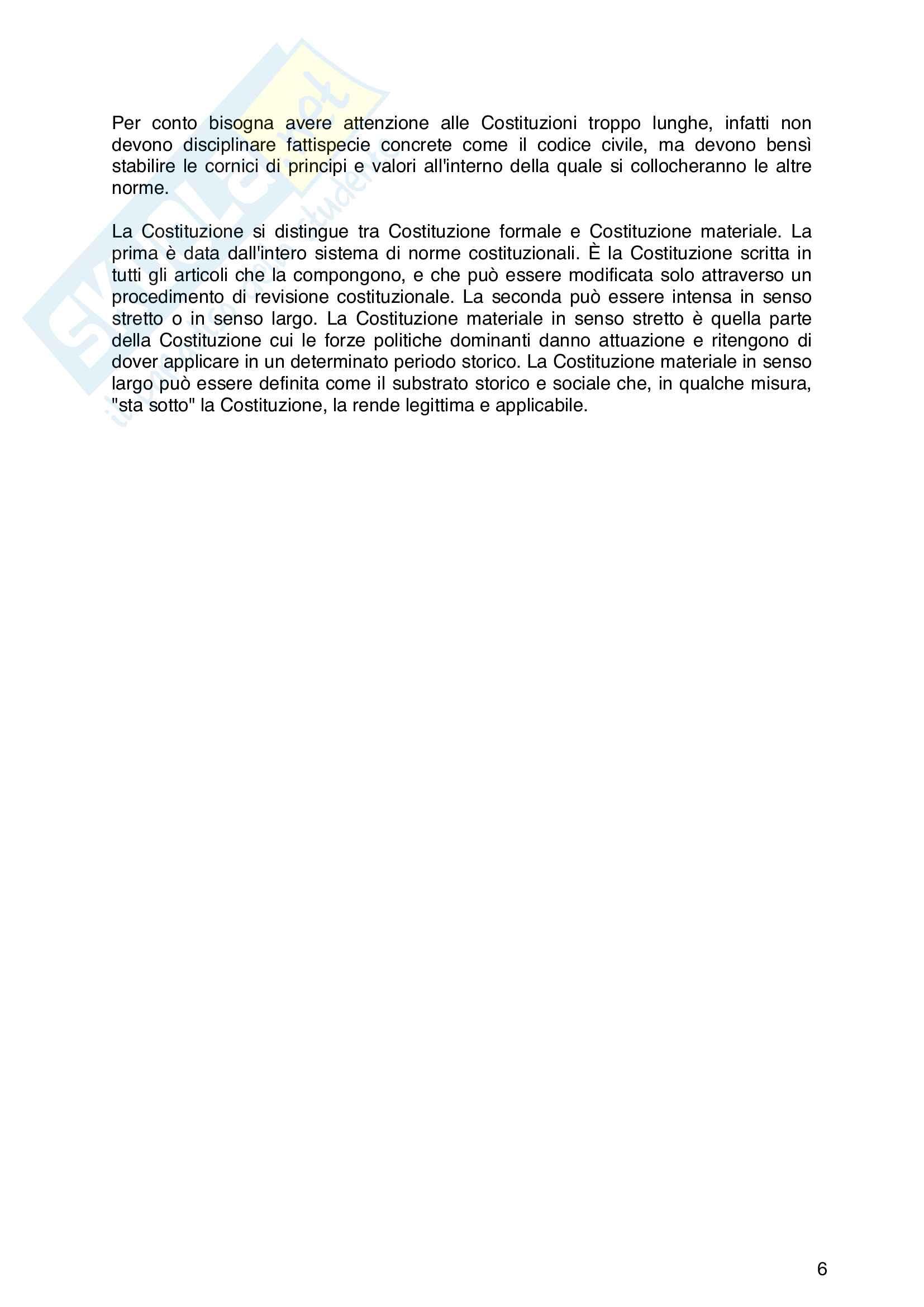 Riassunto esame di Diritto Costituzionale, libro di riferimento : Diritto costituzionale, Pisaneschi Pag. 6