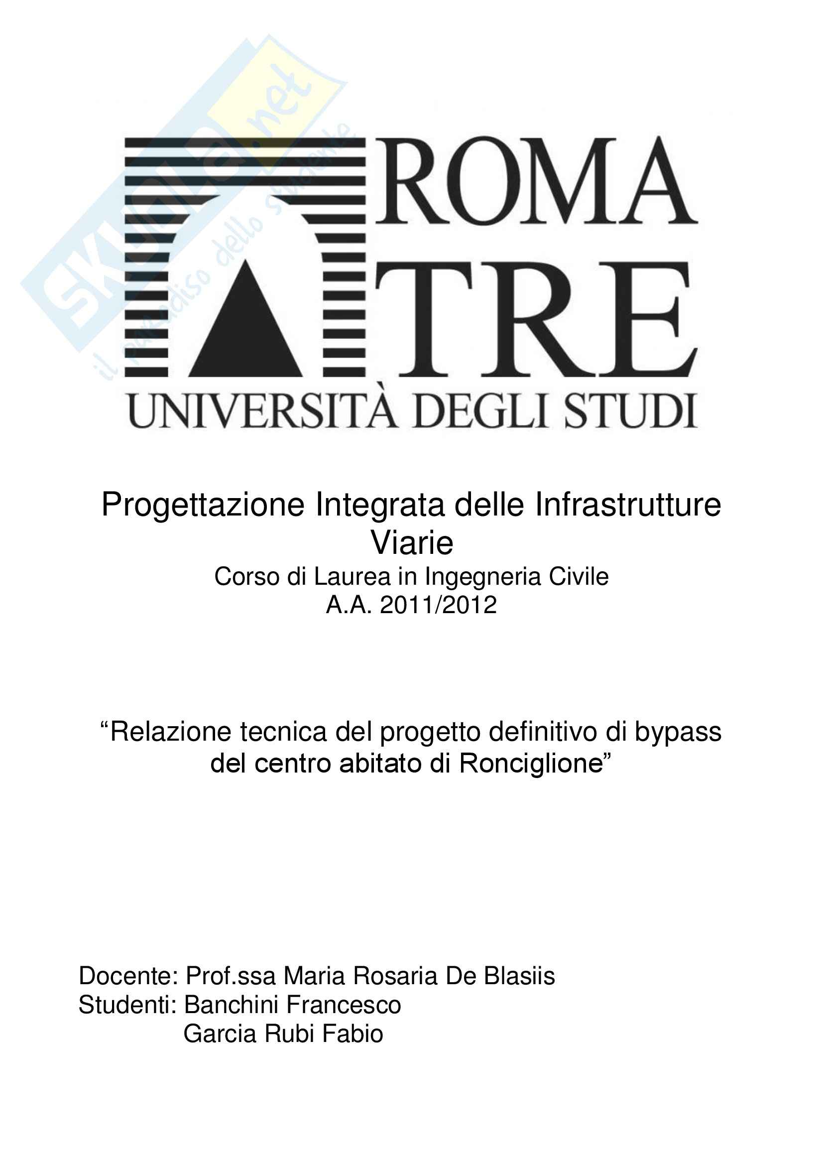 """Relazione del progetto definitivo, Bypass """"Cassia Cimina"""""""