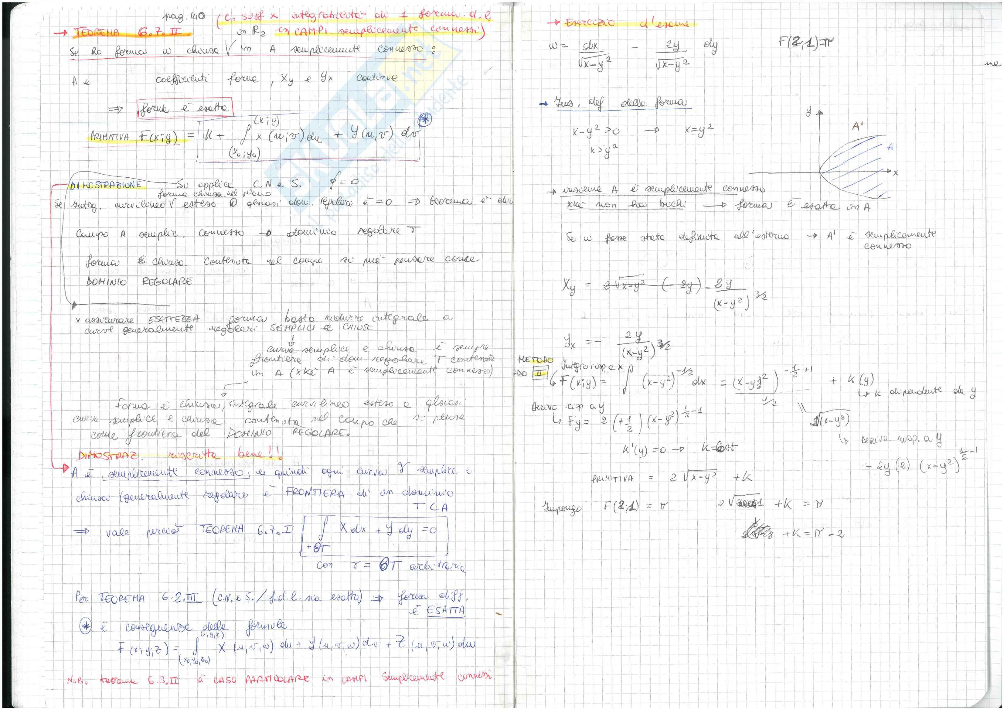 (2/3) Appunti presi a lezione di Analisi matematica 2, prof. M. R. Martinelli, libri consigliati Elementi di Analisi Matematica 2 – Fusco, Marcellini, Sbordone e Analisi Matematica 2 – Ghizzetti, Rosati Pag. 31