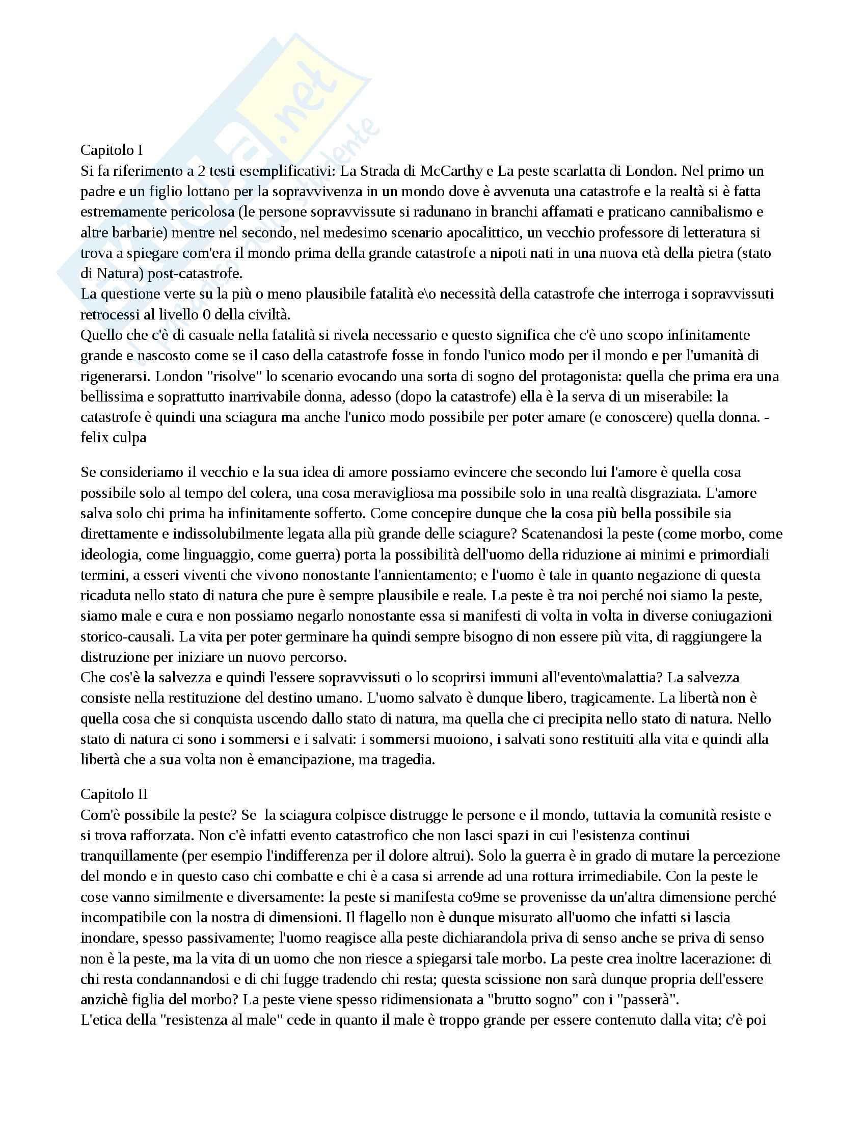 Riassunto esame Estetica, prof. Givone, libro consigliato Metafisica della peste