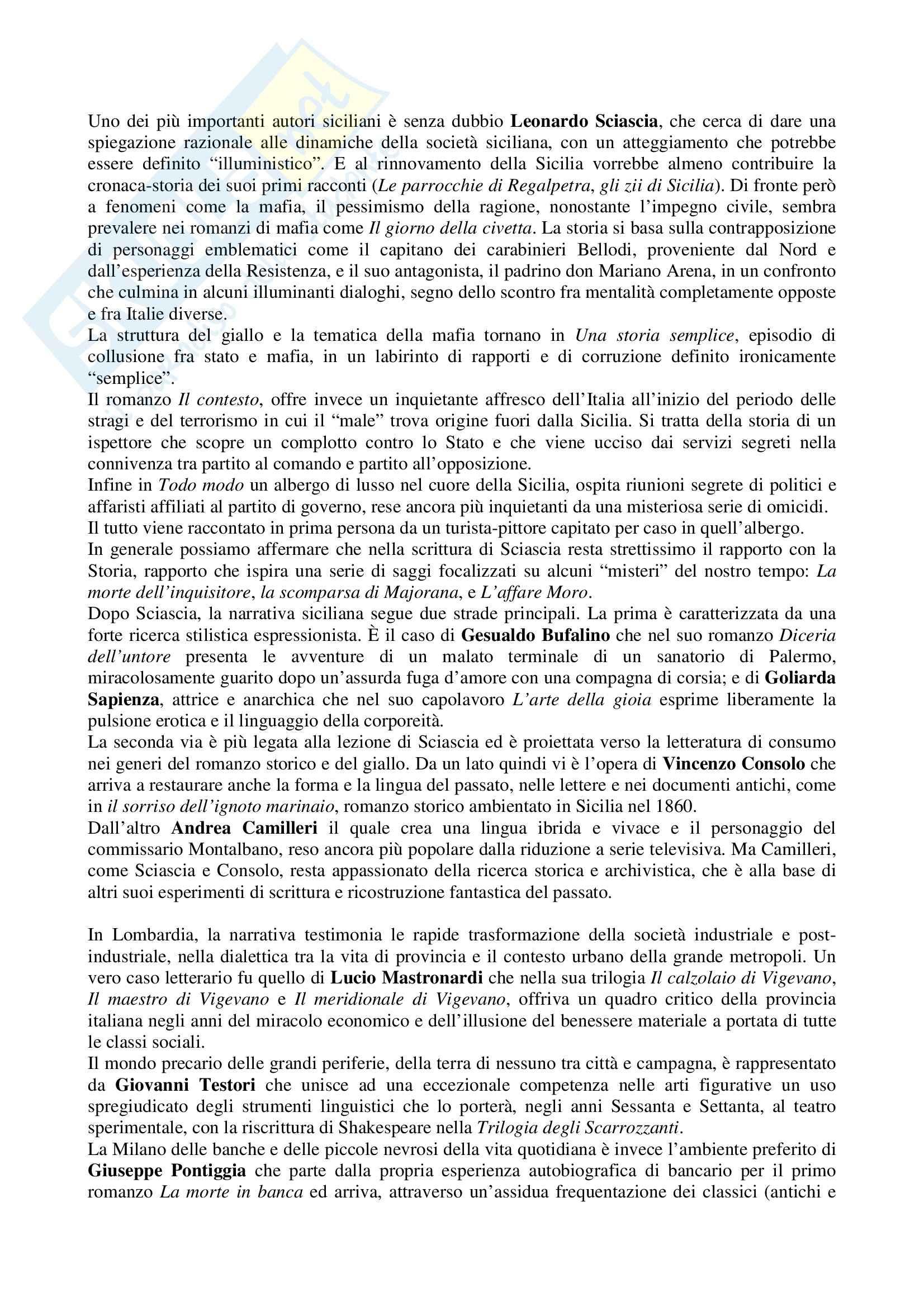 Riassunto esame Letteratura Italiana, prof. Vecce, libro consigliato Piccola Storia della Letteratura Italiana: Età Contemporanea Pag. 36