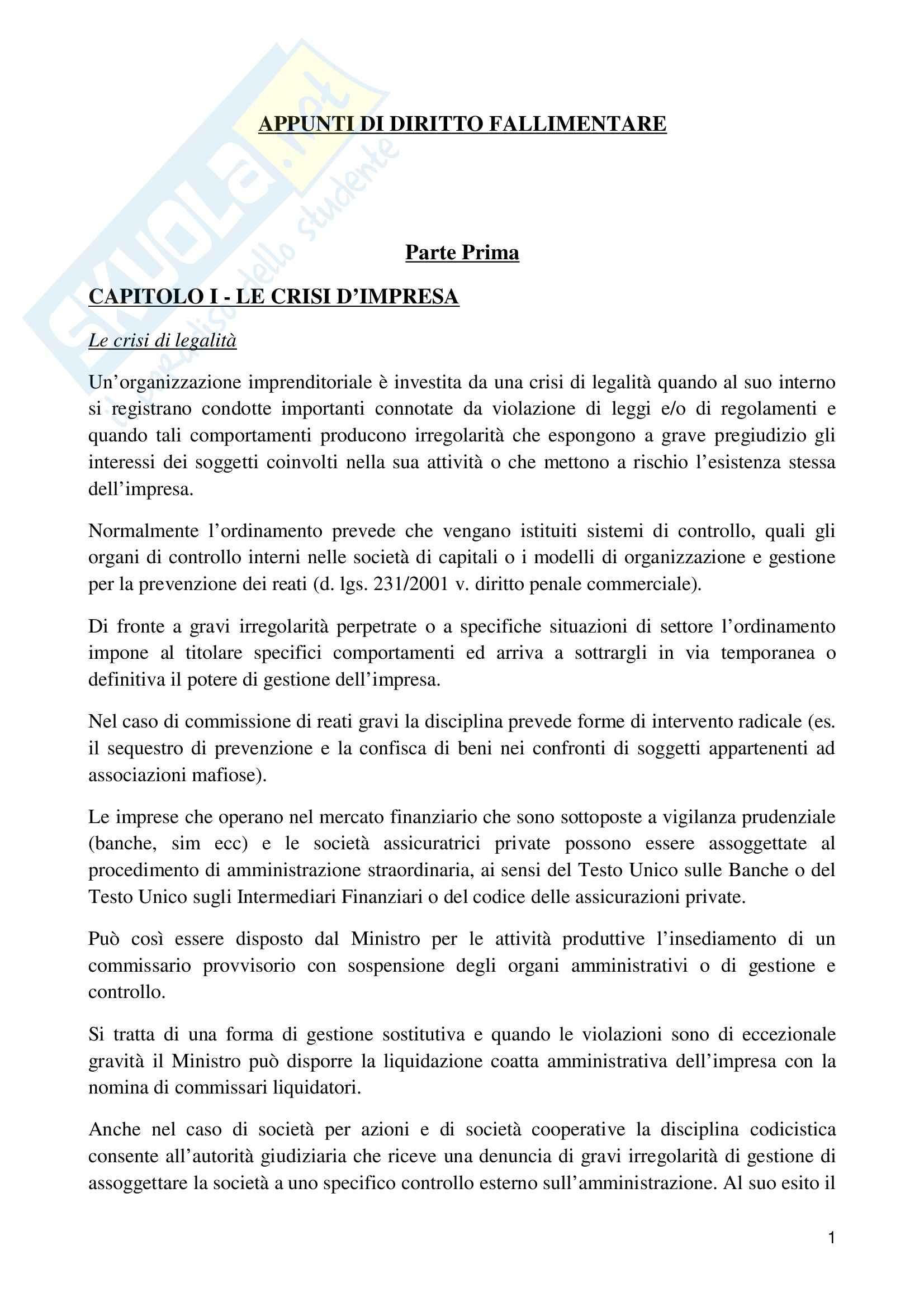Riassunto esame Diritto fallimentare, prof. Gianniti, libro consigliato Diritto fallimentare, Giuffrè