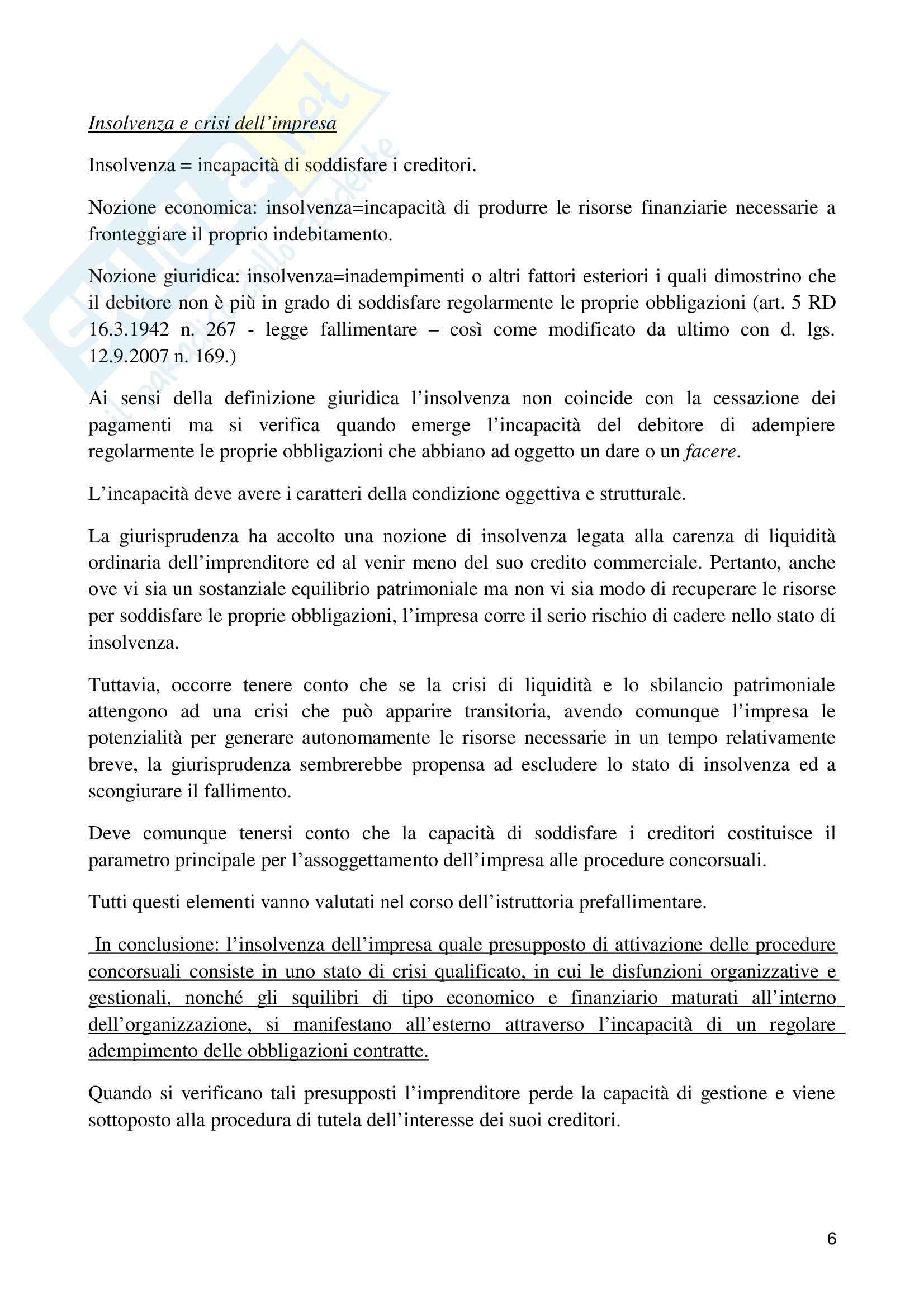 Riassunto esame Diritto fallimentare, prof. Gianniti, libro consigliato Diritto fallimentare, Giuffrè Pag. 6