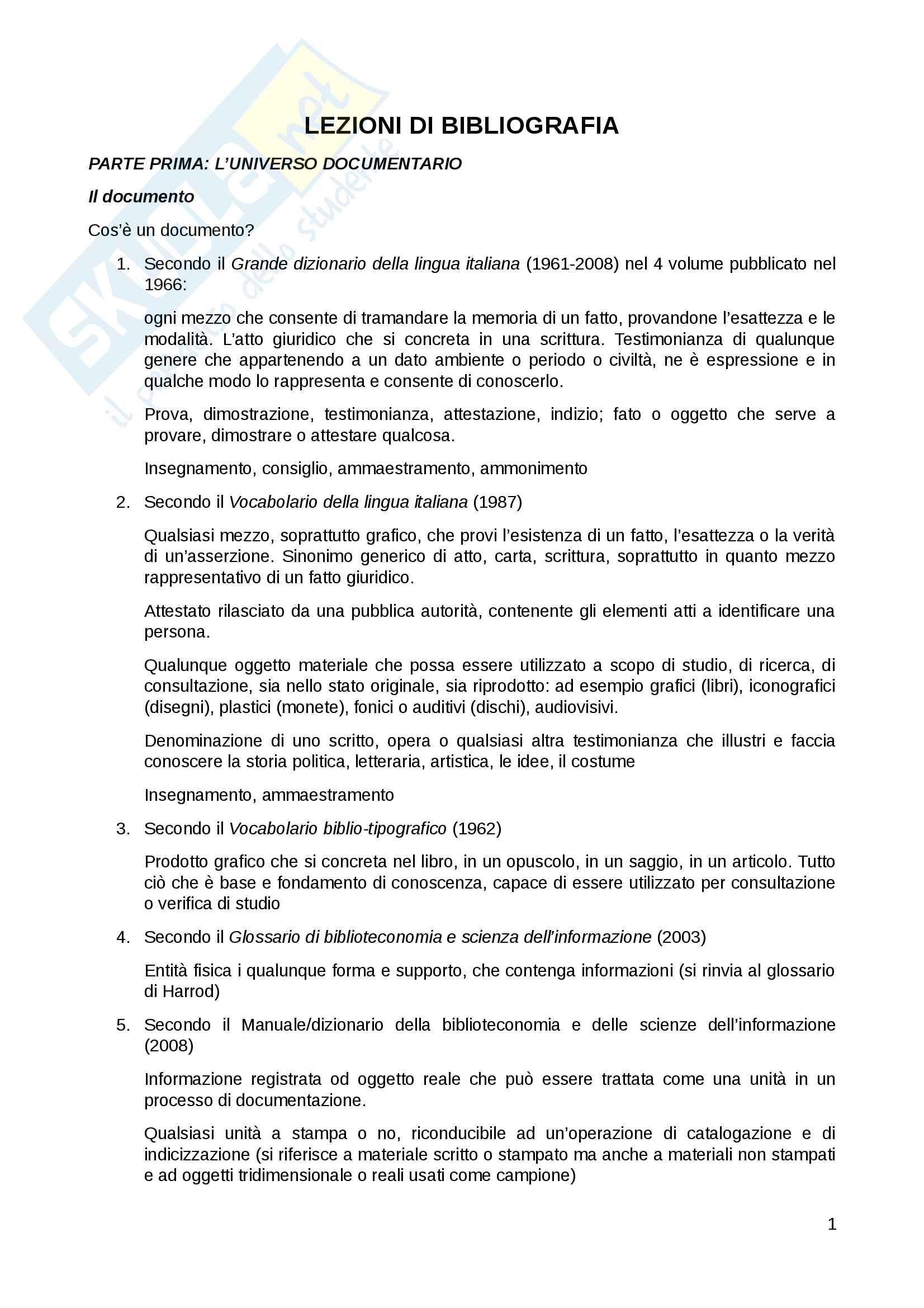 Riassunto esame Bibliografia musicale, prof. Culturato, libro consigliato Lezioni di Bibliografia, Santoro