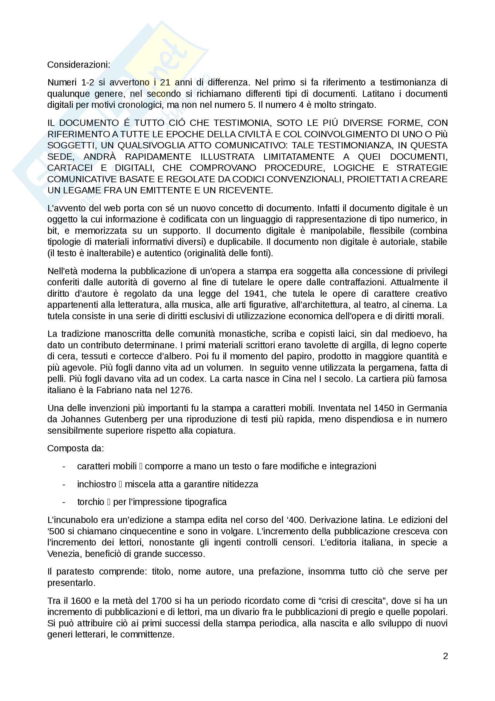 Riassunto esame Bibliografia musicale, prof. Culturato, libro consigliato Lezioni di Bibliografia, Santoro Pag. 2