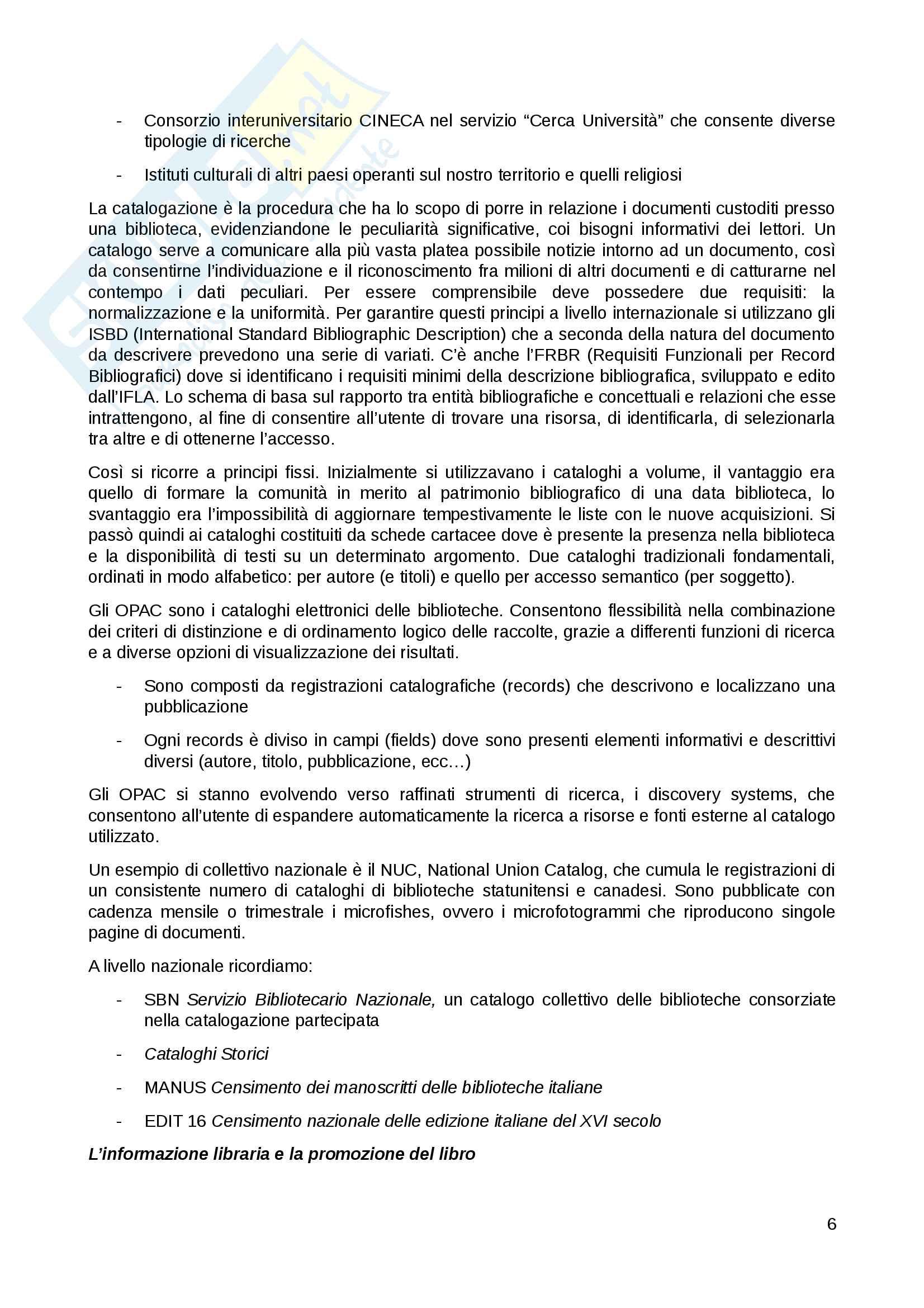 Riassunto esame Bibliografia musicale, prof. Culturato, libro consigliato Lezioni di Bibliografia, Santoro Pag. 6